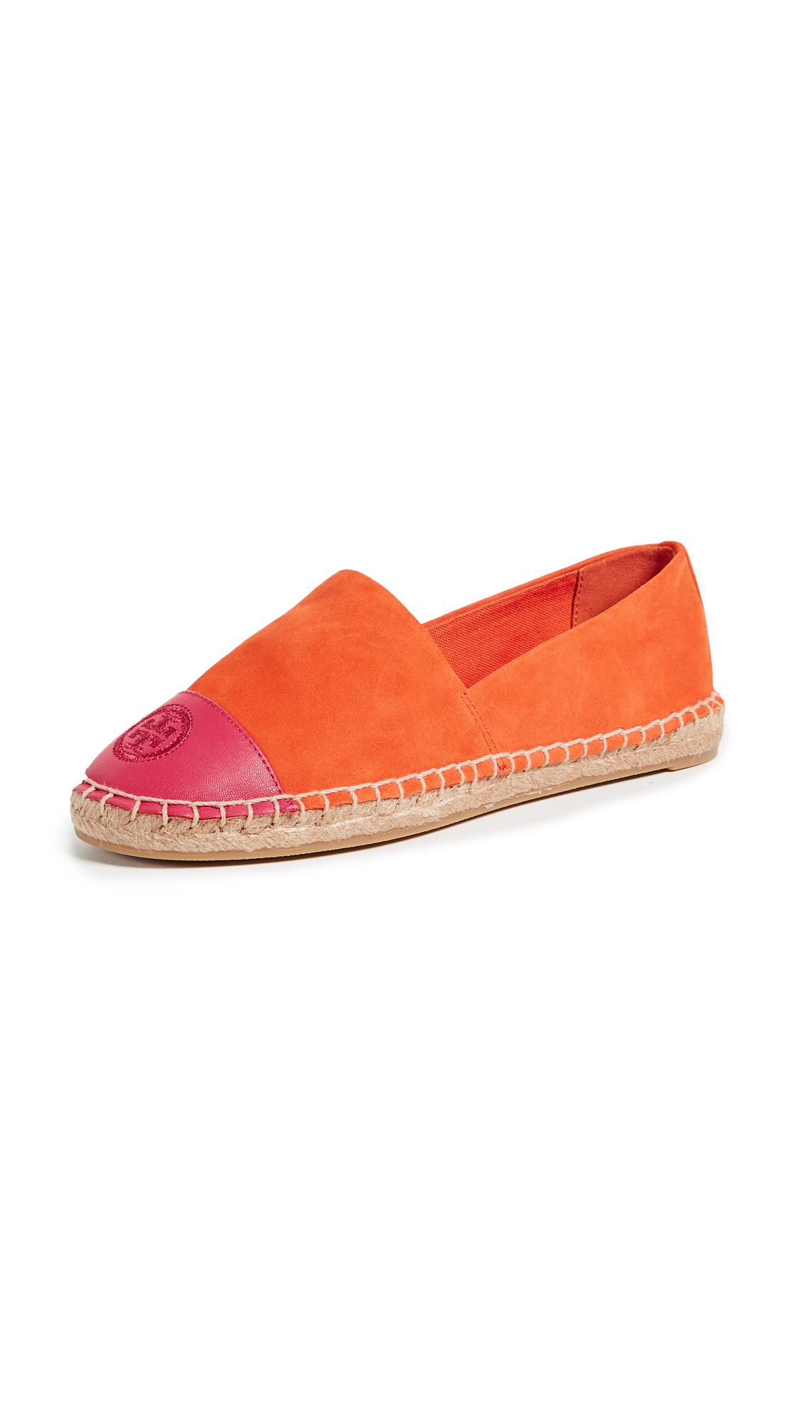 Tory Burch Colorblock Flat Espadrilles - Sweet Tangerine/Bright Azalea