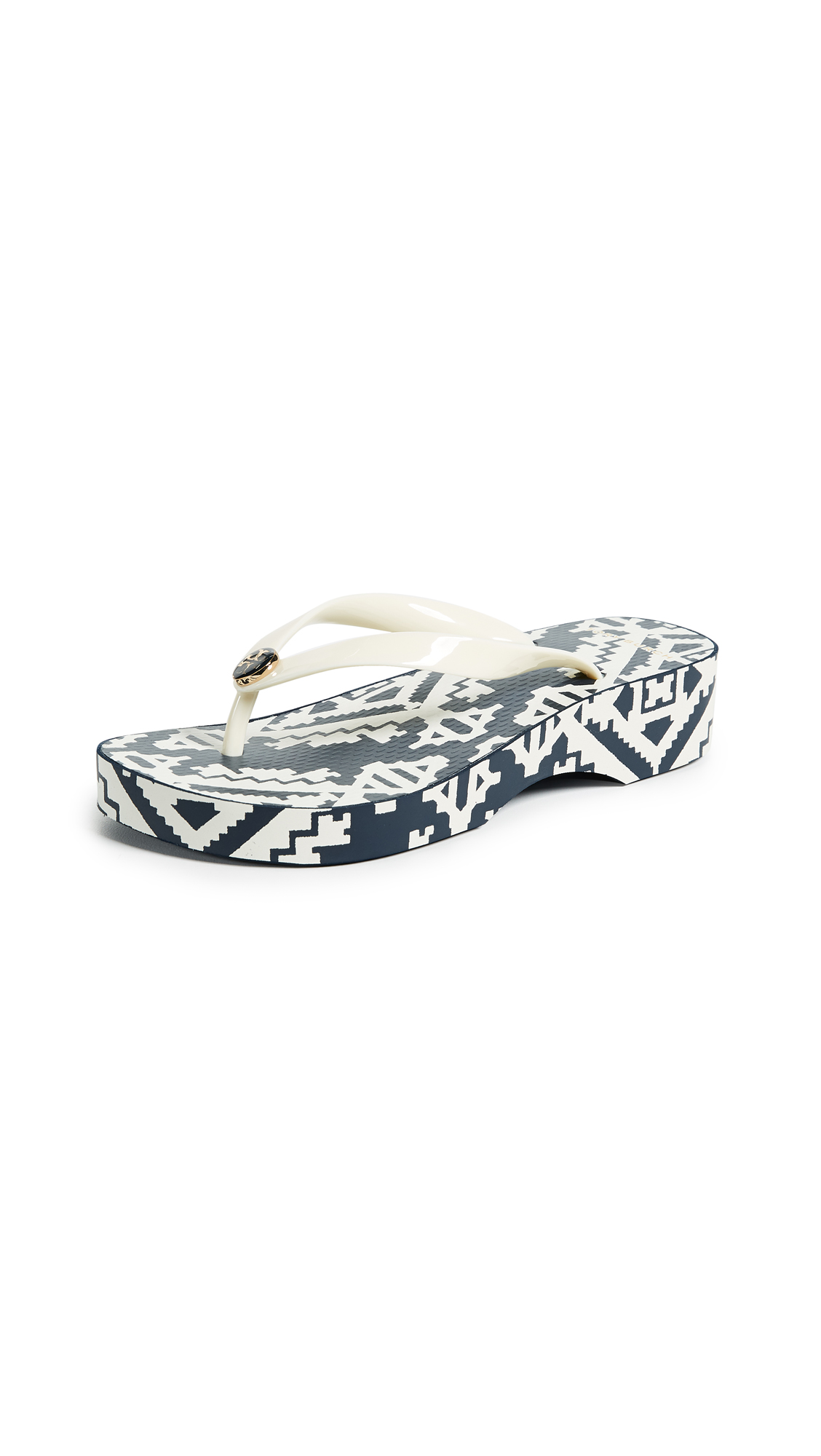 Tory Burch Cutout Wedge Flip Flops - Perfect Ivory/Tapestry Geo
