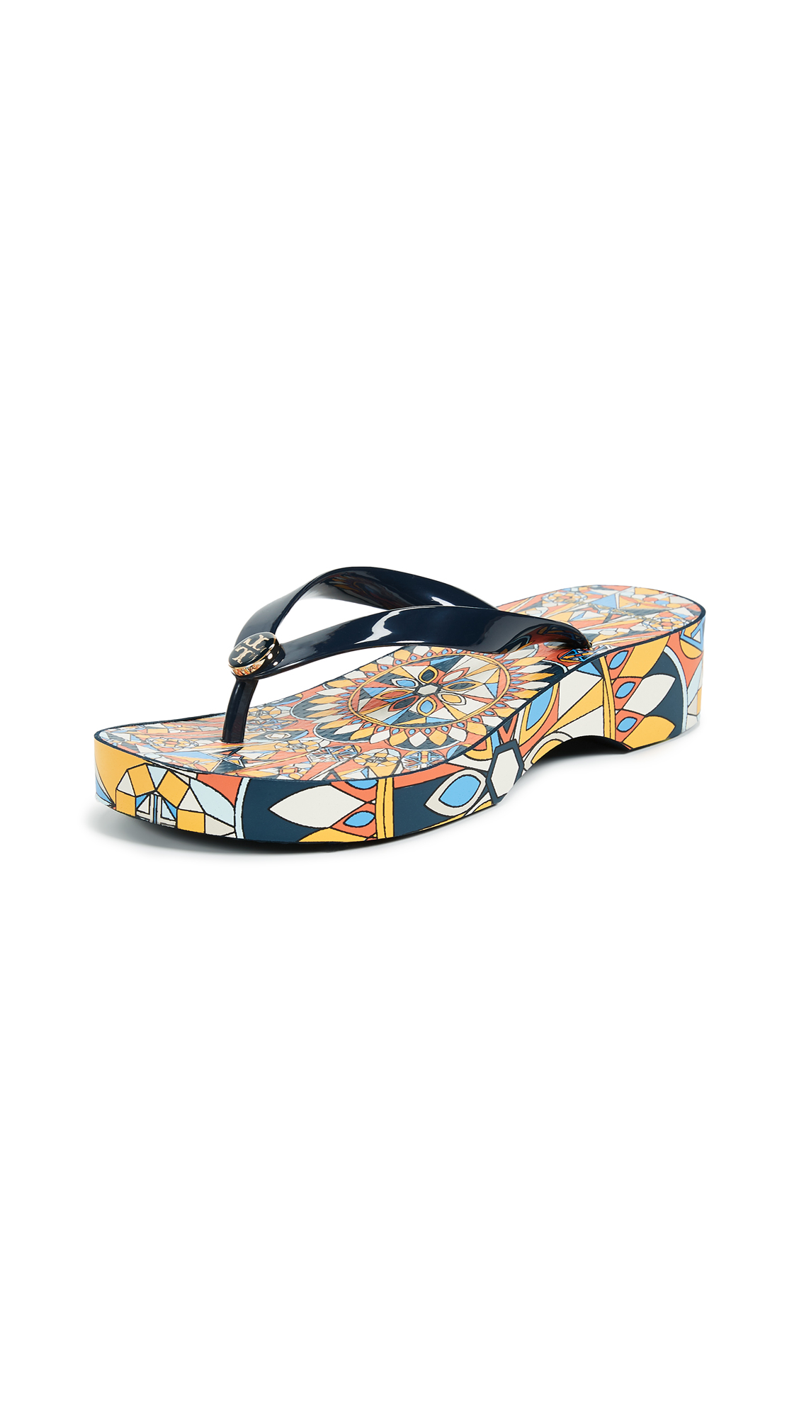Tory Burch Cut Out Wedge Flip Flops - Tory Navy/Psychedelic Geo