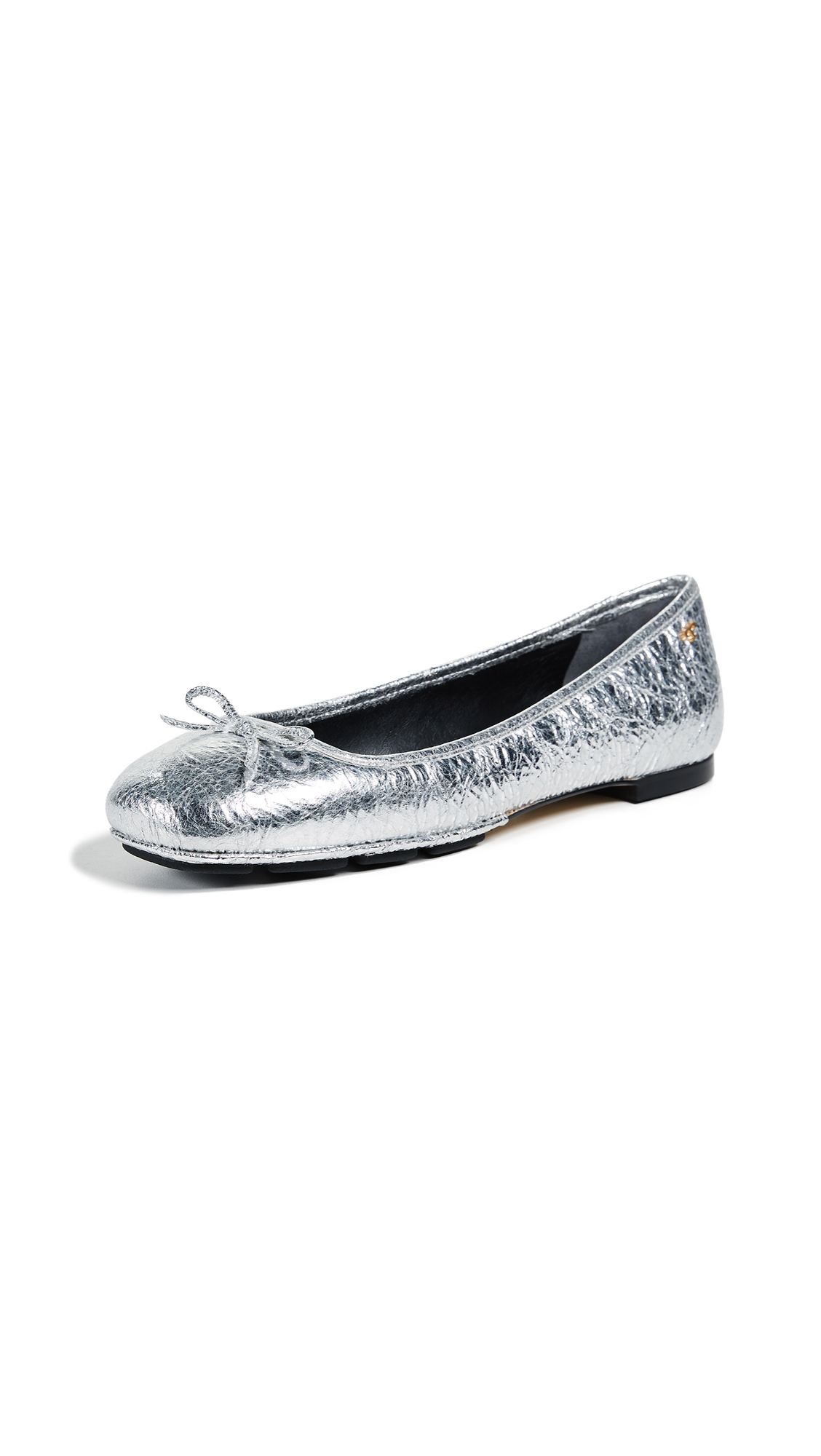 Tory Burch Laila 2 Driver Ballet Flats - Silver/Perfect Black