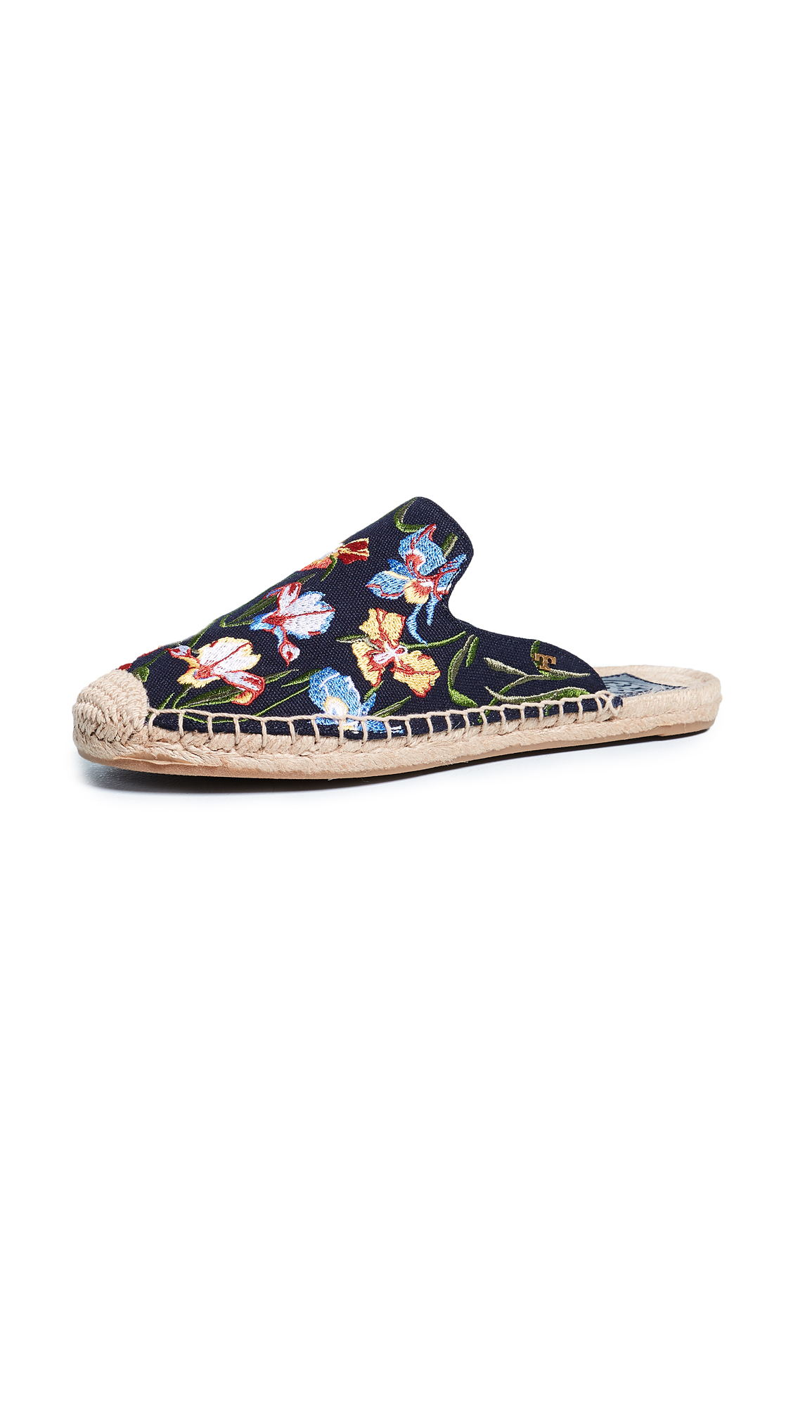 Tory Burch Max Embroidered Espadrille Slides - Perfect Navy/Painted Iris