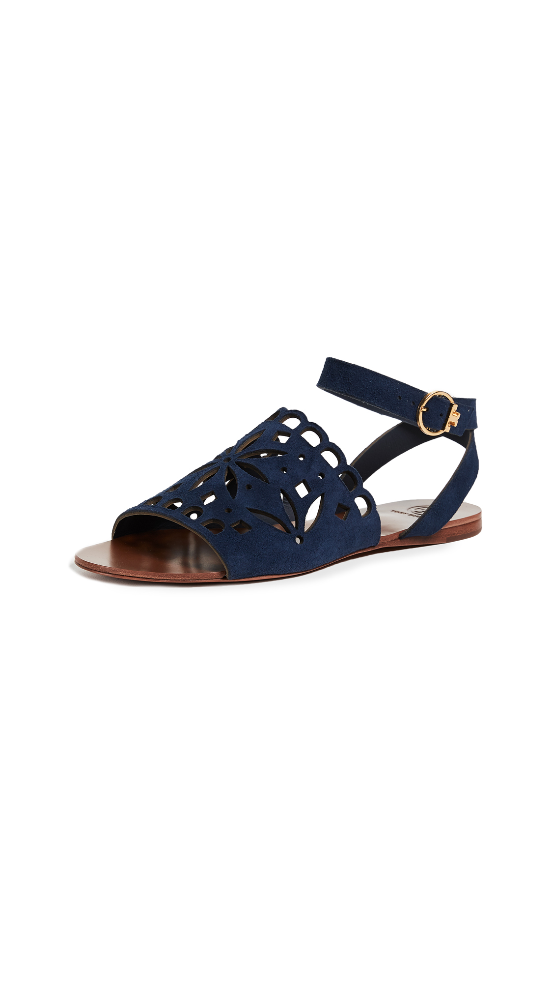Tory Burch May Flat Sandals - Perfect Navy