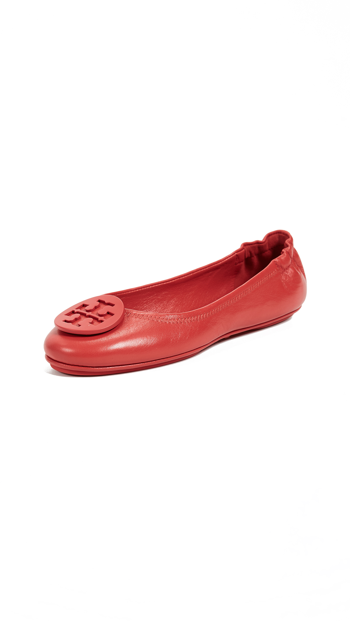 Tory Burch Minnie Travel Ballet Flats with Logo - Poppy Orange