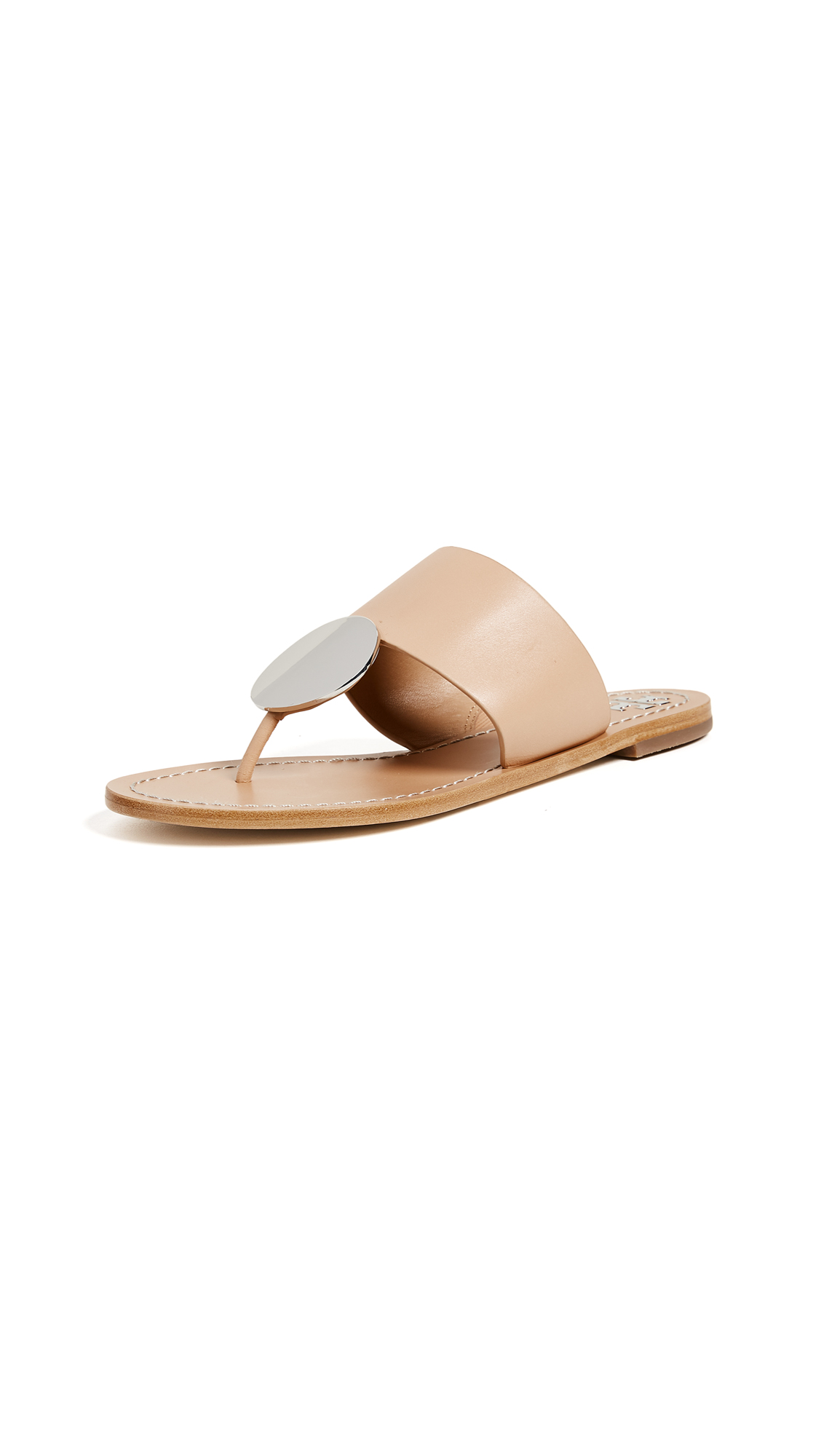 Tory Burch Patos Disk Sandals - Natural/Silver