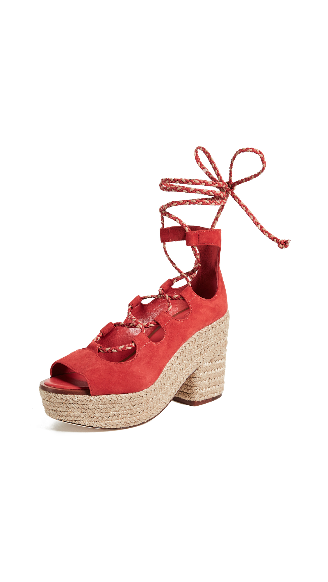 Tory Burch Positano Platform Espadrilles - Poppy Orange