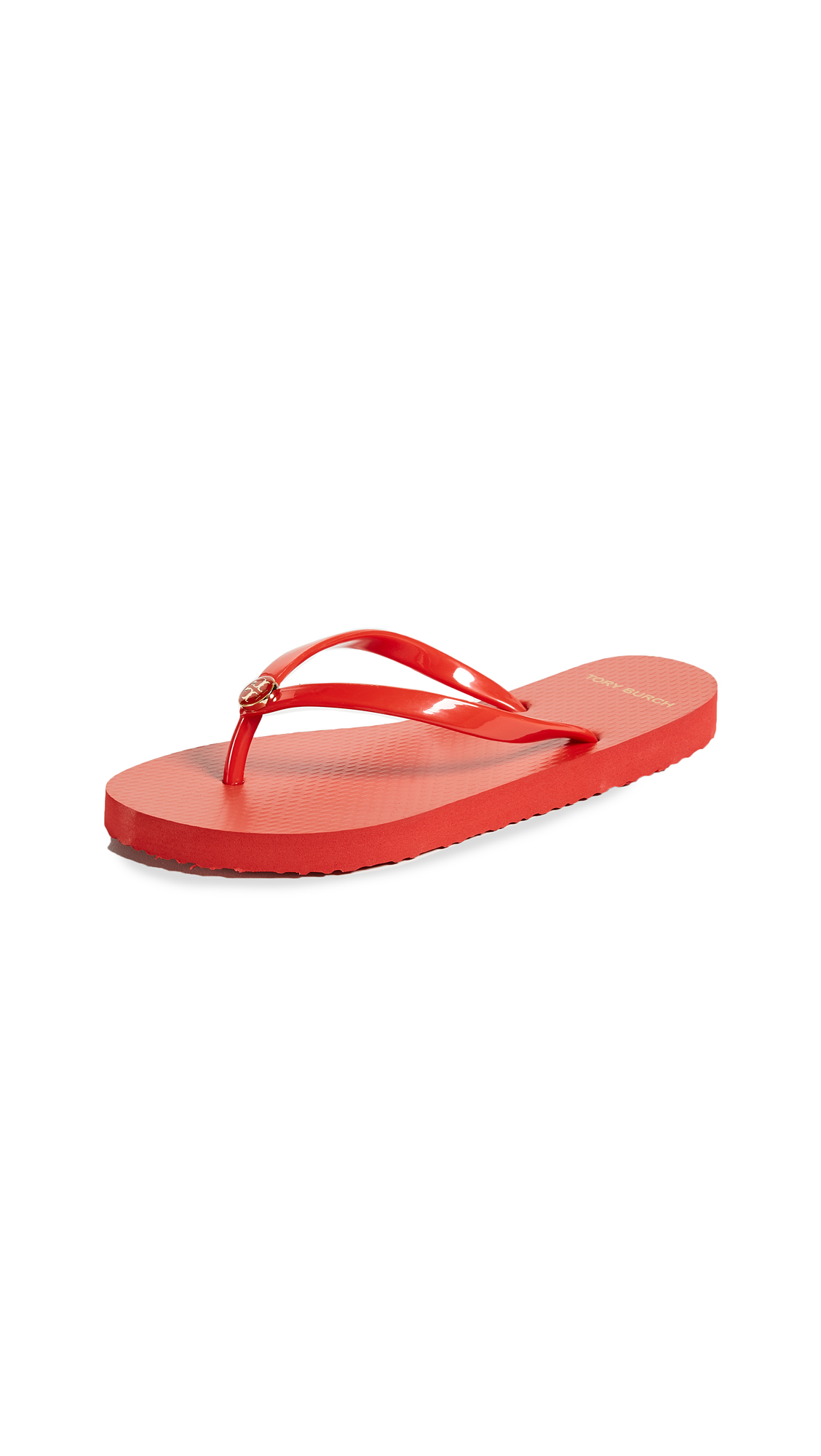 Tory Burch Solid Thin Flip Flops - Poppy Orange