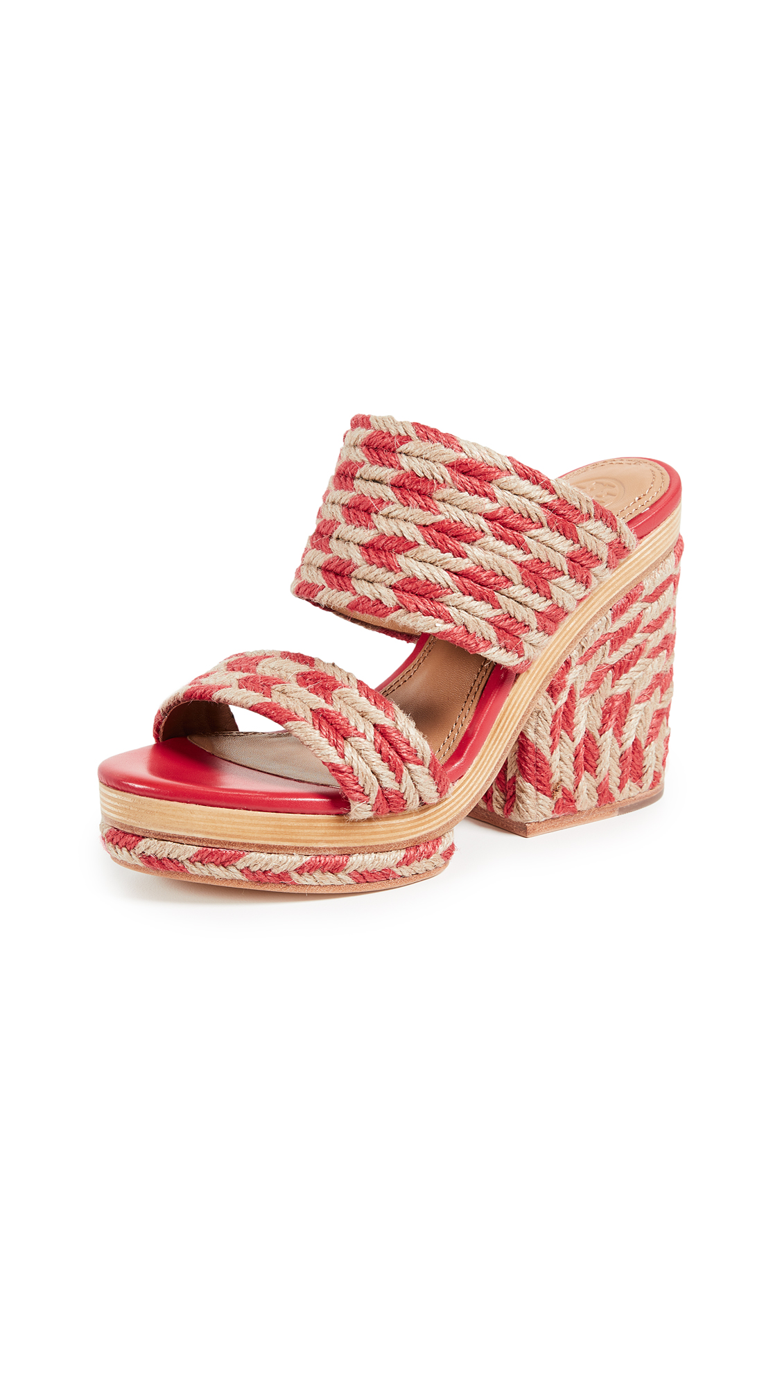 Tory Burch Lola 100mm Sandals - Poppy Orange/Perfect Ivory