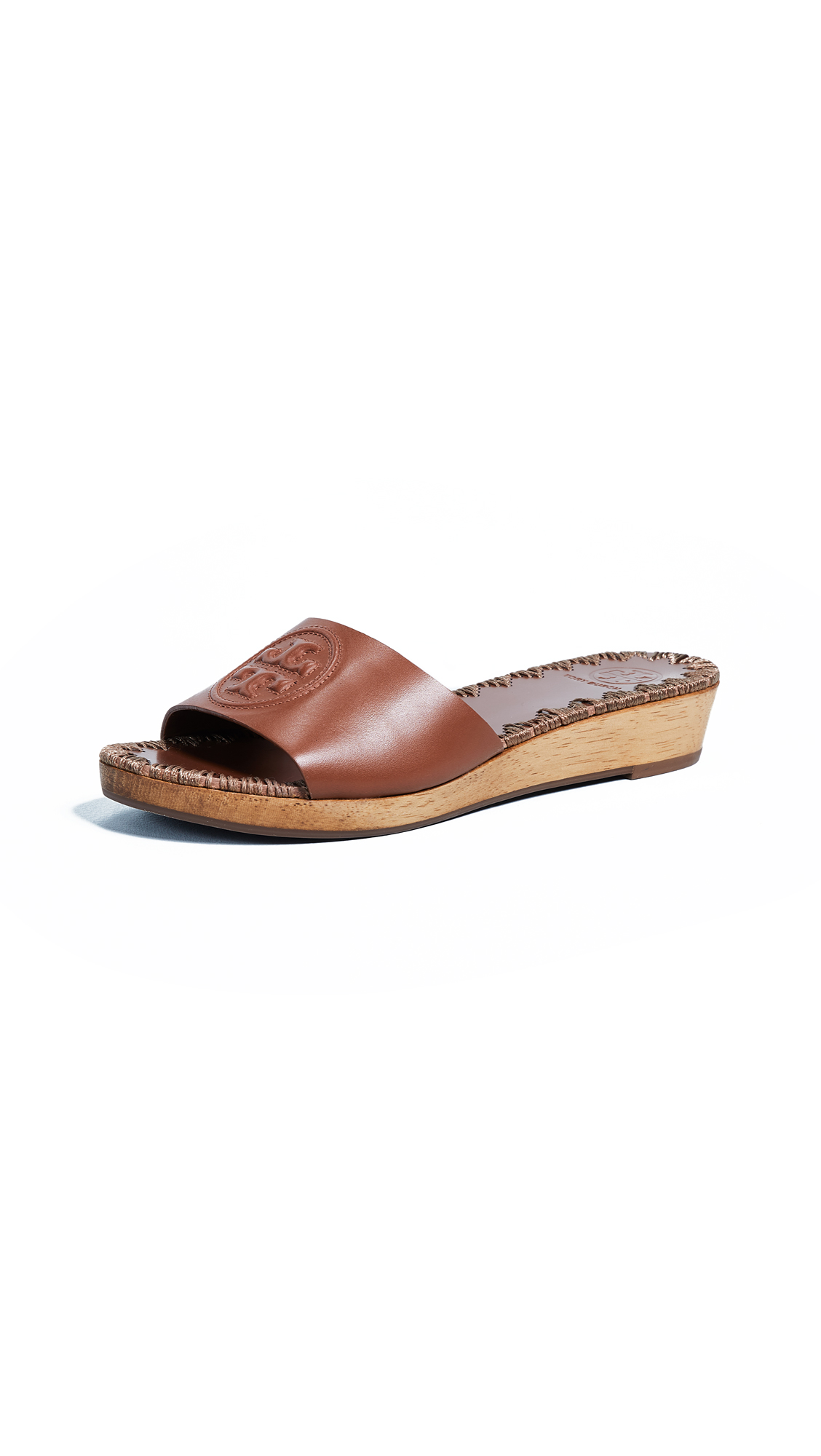 Tory Burch Patty 35mm Wedge Slides - Perfect Cuoio