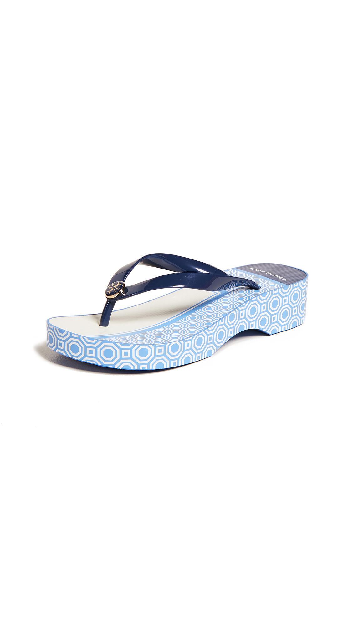 Tory Burch Cutout Wedge Flip Flops - Navy/Sunny Blue Octagon