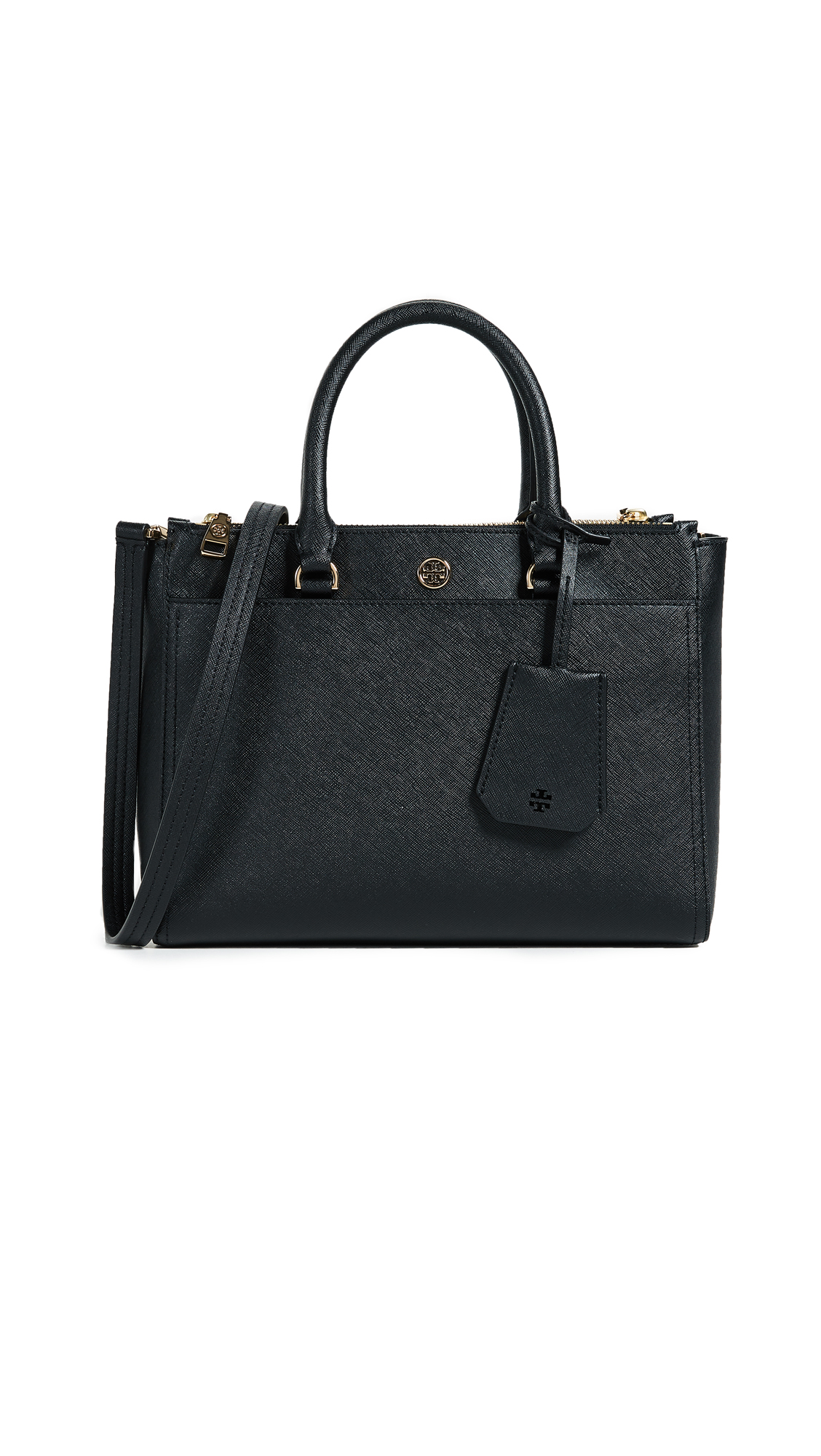 Tory Burch Robinson Small Double Zip Tote - Black/Navy
