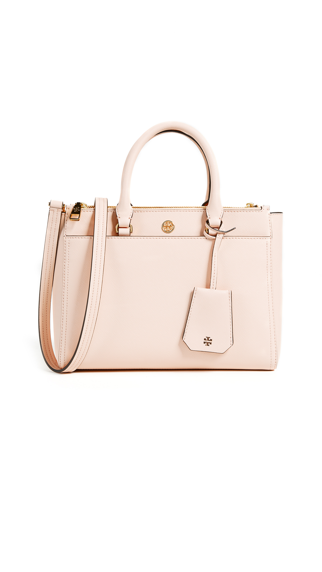 Tory Burch Robinson Small Double Zip Tote - Pale Apricot/Royal Navy