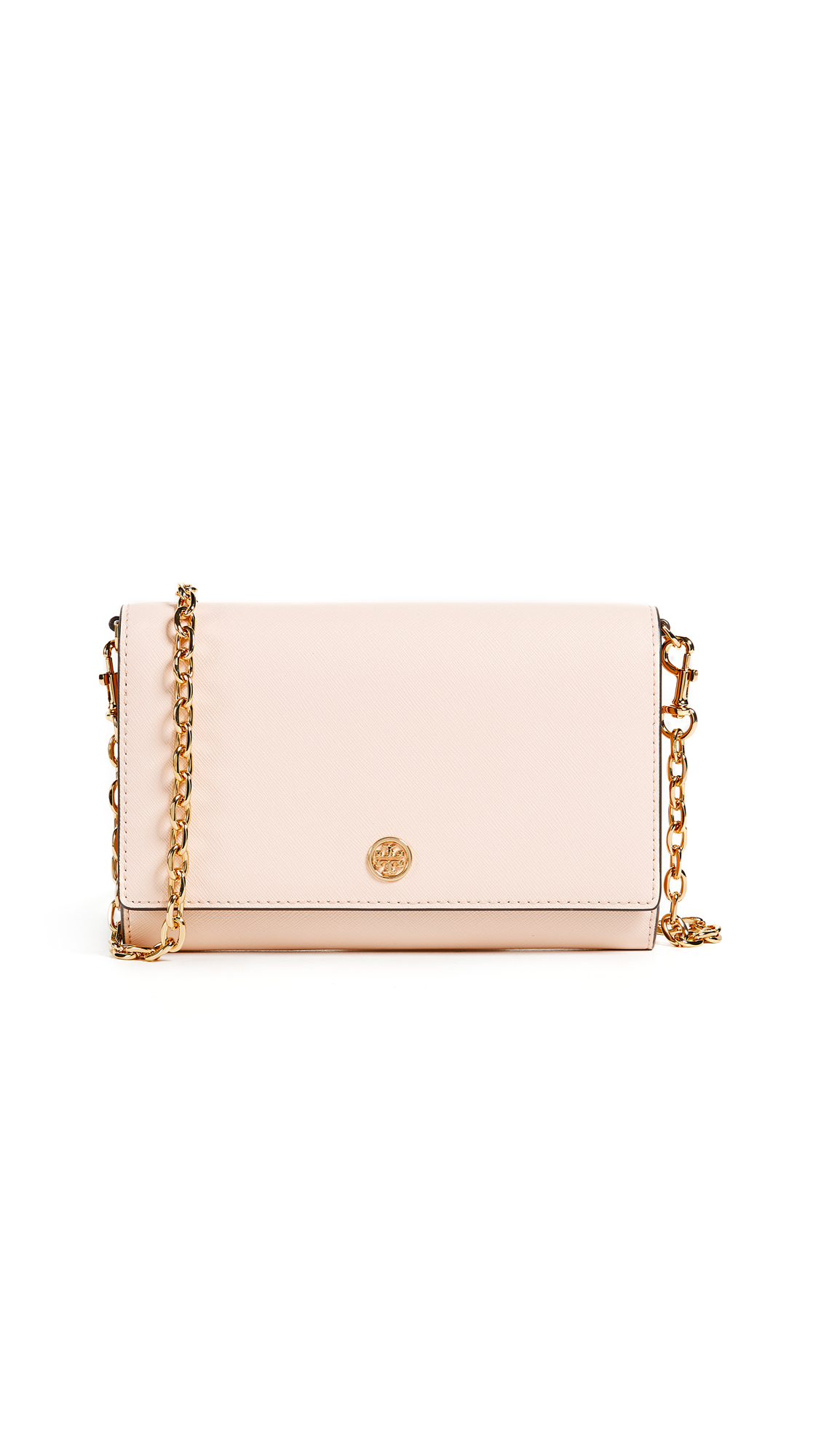 Tory Burch Robinson Wallet on a Chain In Pale Apricot/Royal Navy