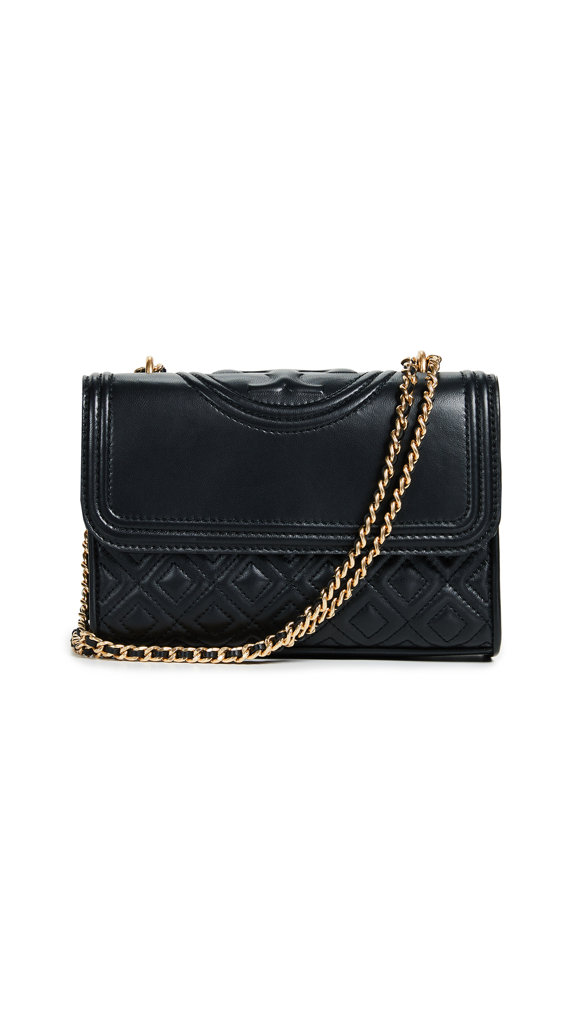 Tory Burch Small Fleming Leather Convertible Shoulder Bag - Black