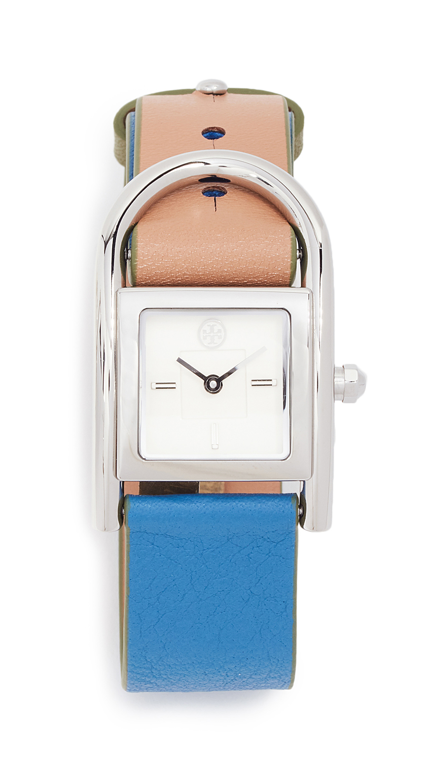 Tory Burch Thayer Watch, 25mm In Blue/Brown