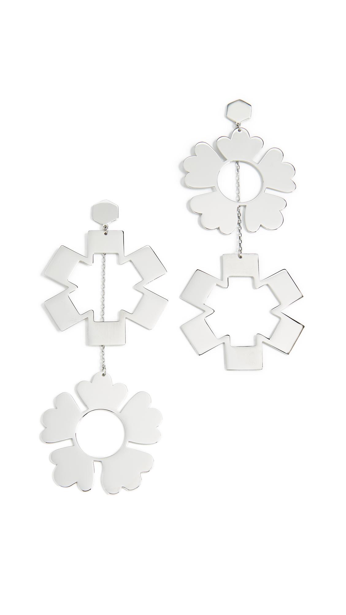 Tory Burch Geo Mismatched Drop Earrings - Silver
