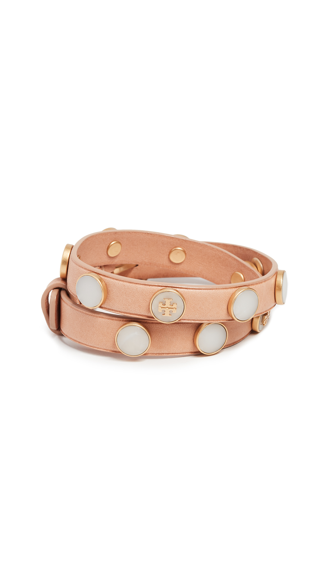 Tory Burch Leather Double Wrap Bracelet In Vachetta/Mother Of Pearl