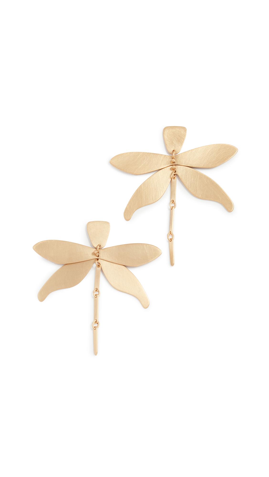 Tory Burch Dragonfly Earrings In Brass