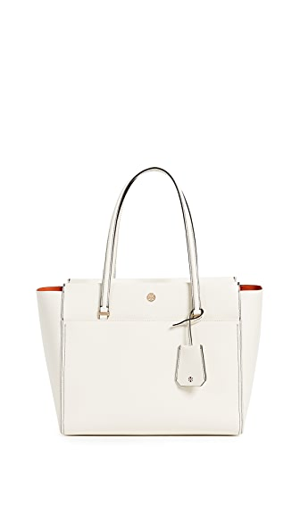 Tory Burch Parker Tote In New Ivory/Mango