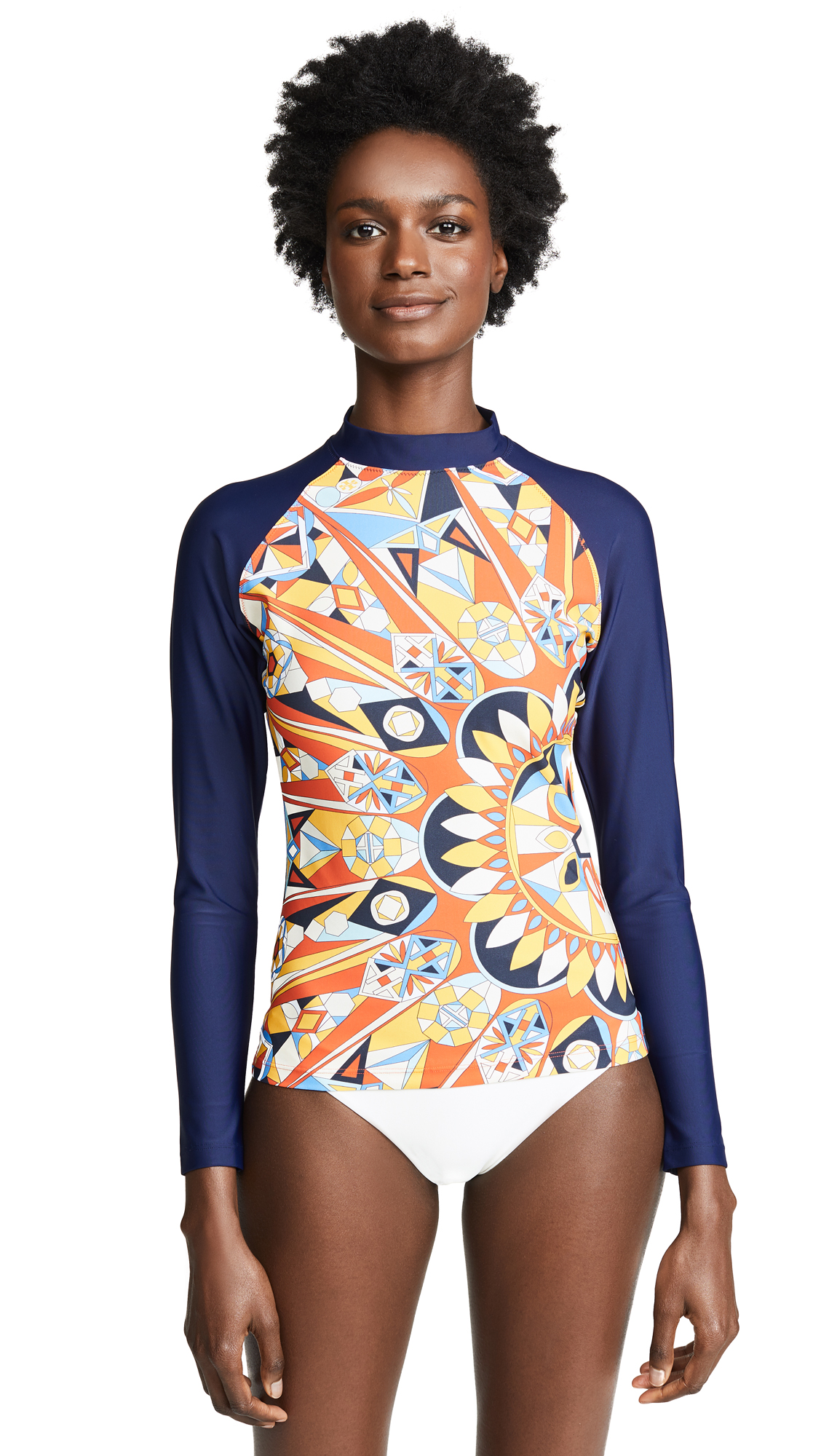 Tory Burch Kaleidoscope Rash Guard In Orange