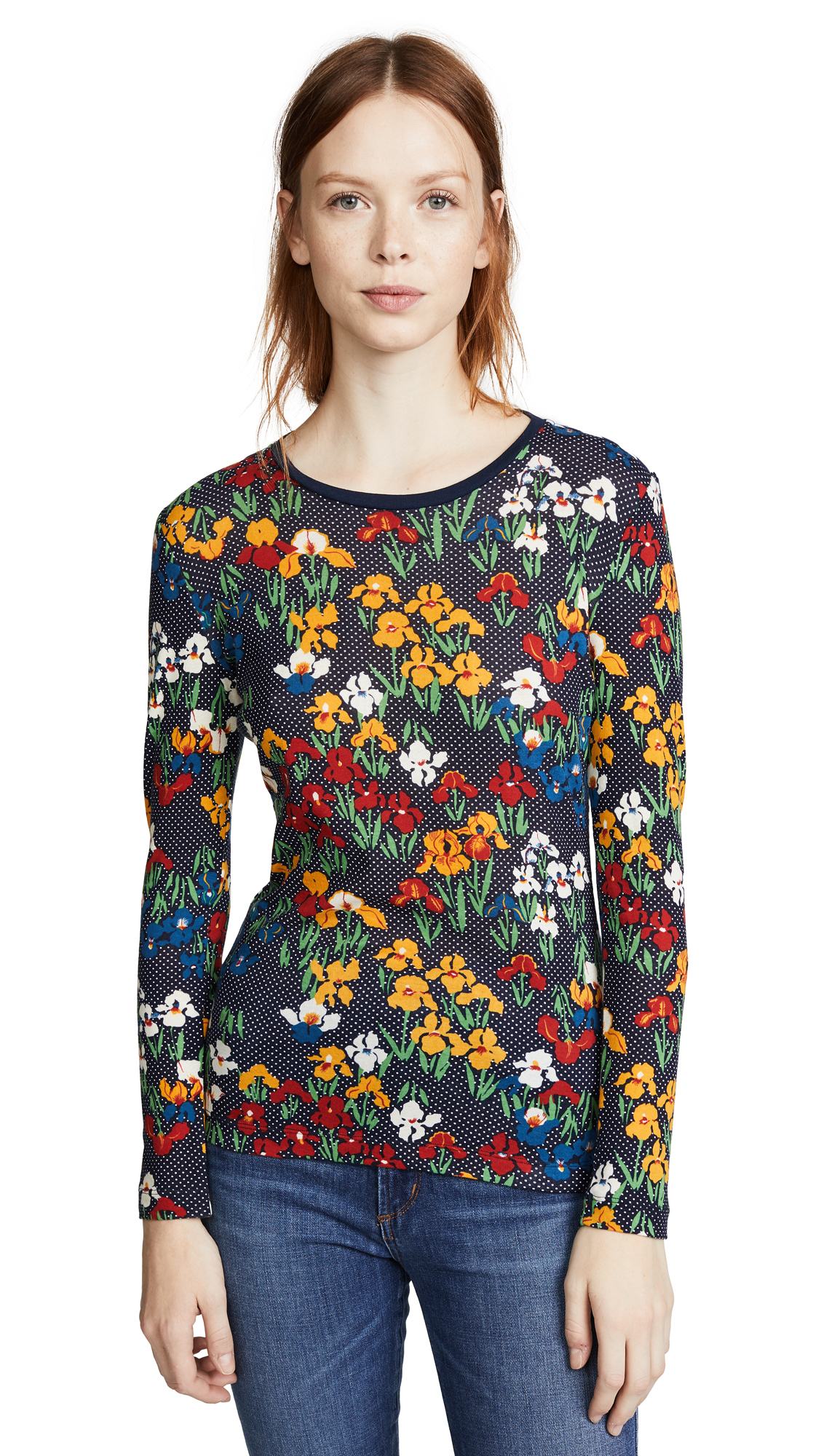 Tory Burch Katrina T-Shirt In Tory Navy/Iris Garden