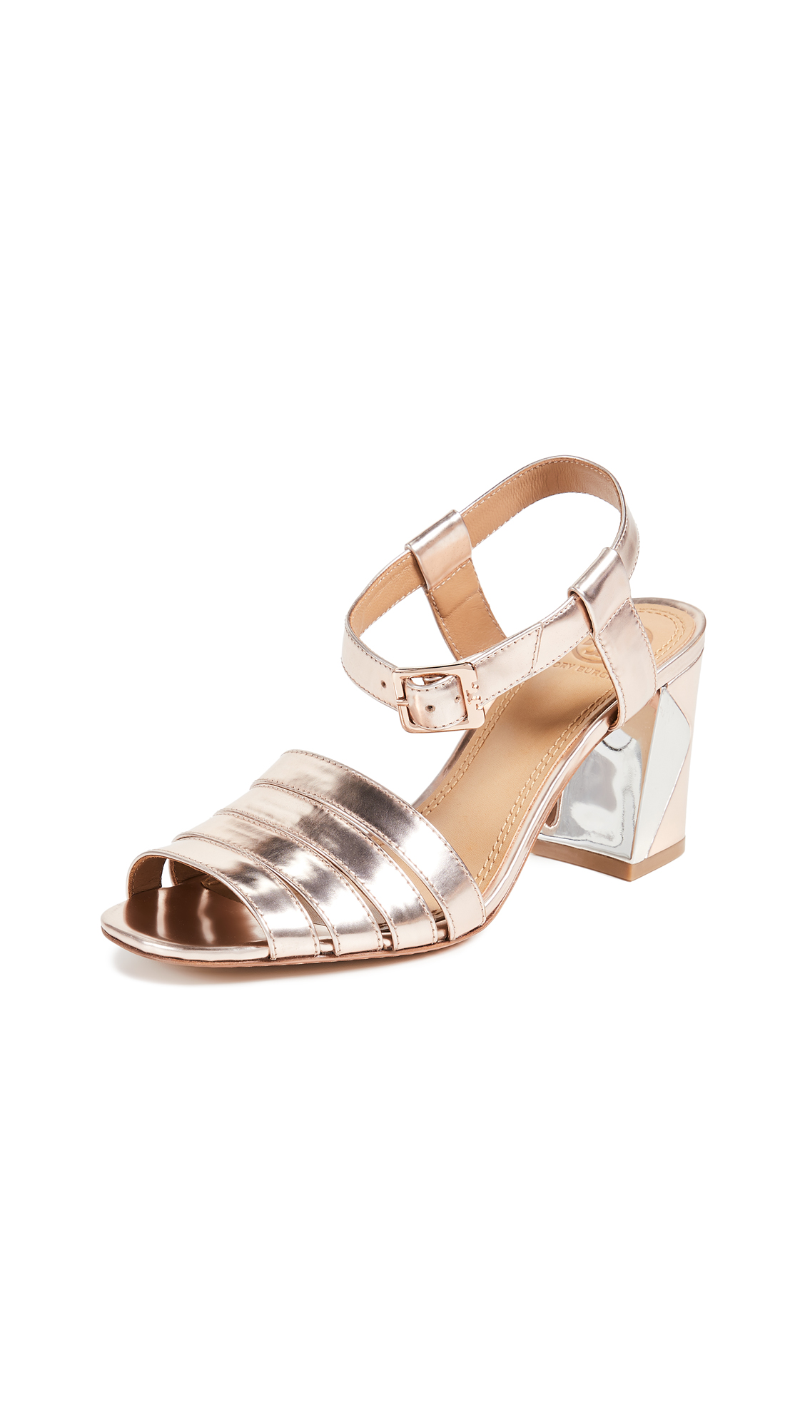 Tory Burch Bellman 75mm Metallic Sandals - Rose Gold