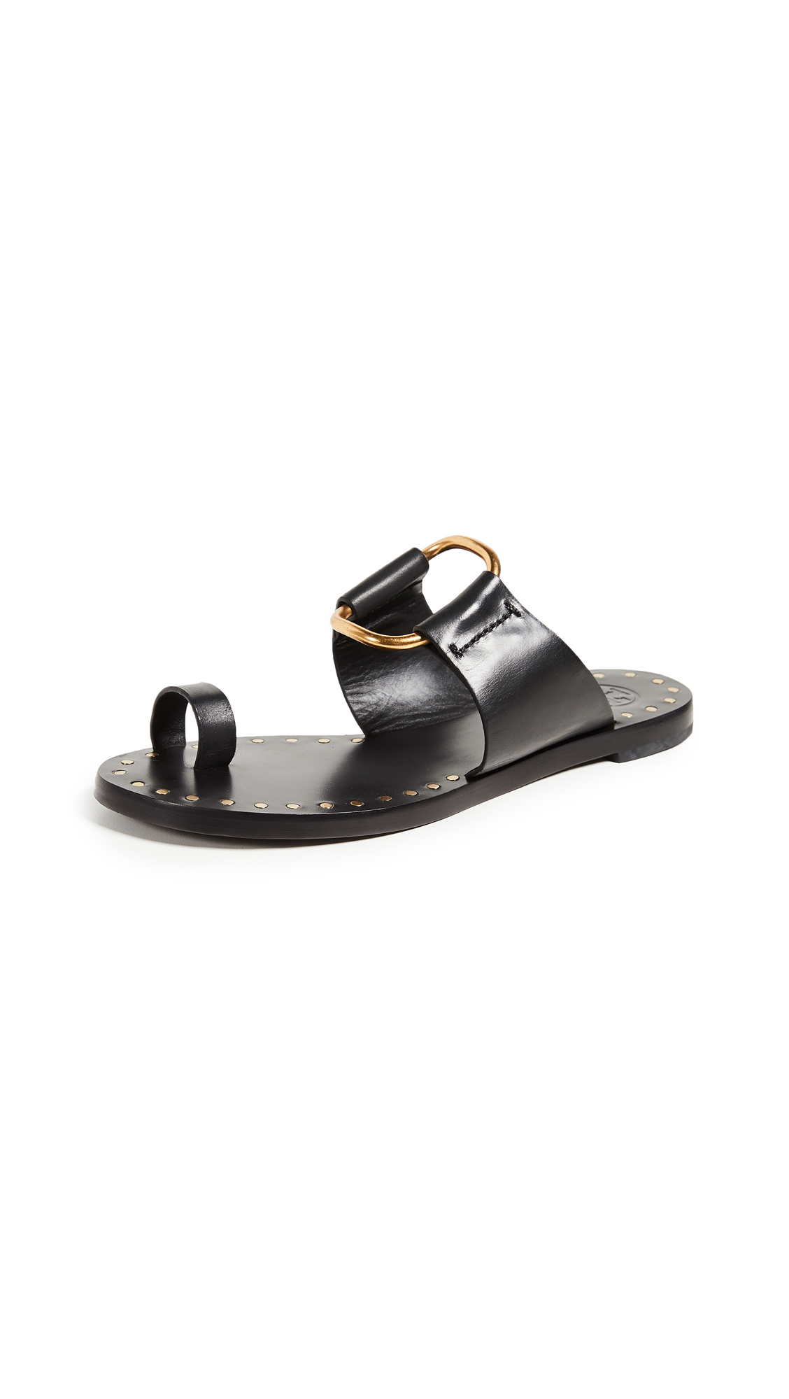 Tory Burch Brannan Toe Ring Sandals In Perfect Black