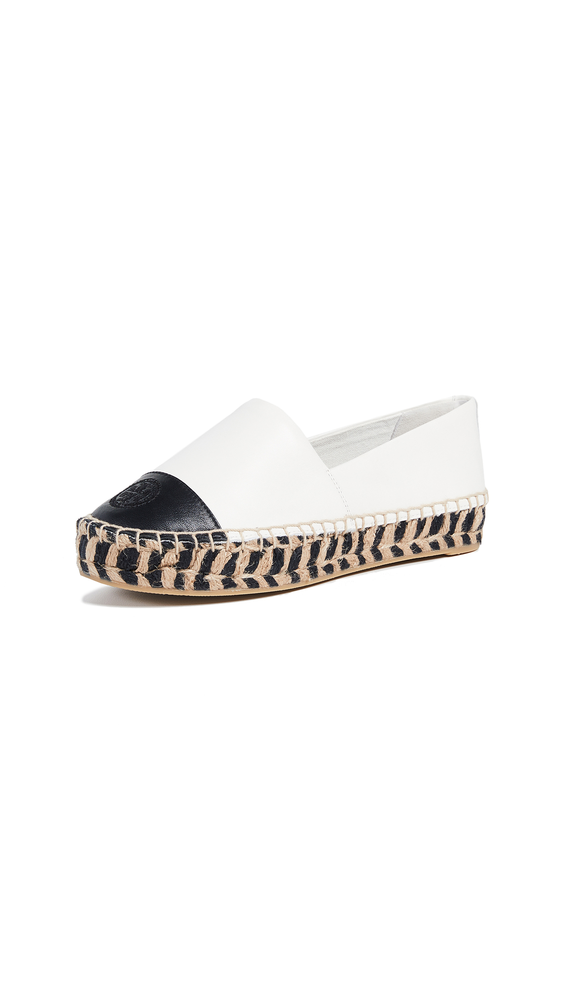 Tory Burch Colorblock Platform Espadrilles - Perfect Ivory/Perfect Black