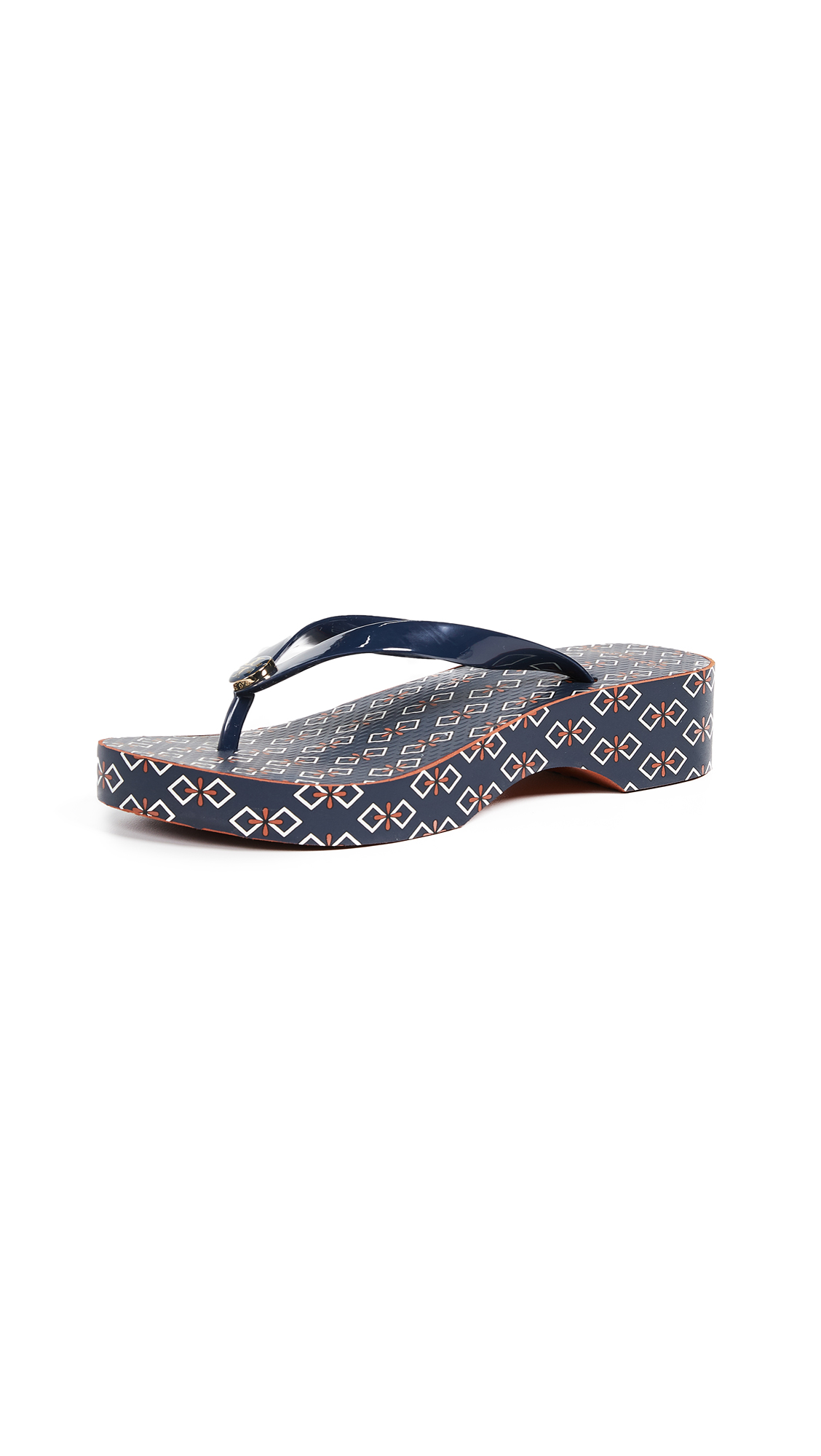 Tory Burch Cutout Wedge Flip Flops - Tory Navy/Deco Bouquet