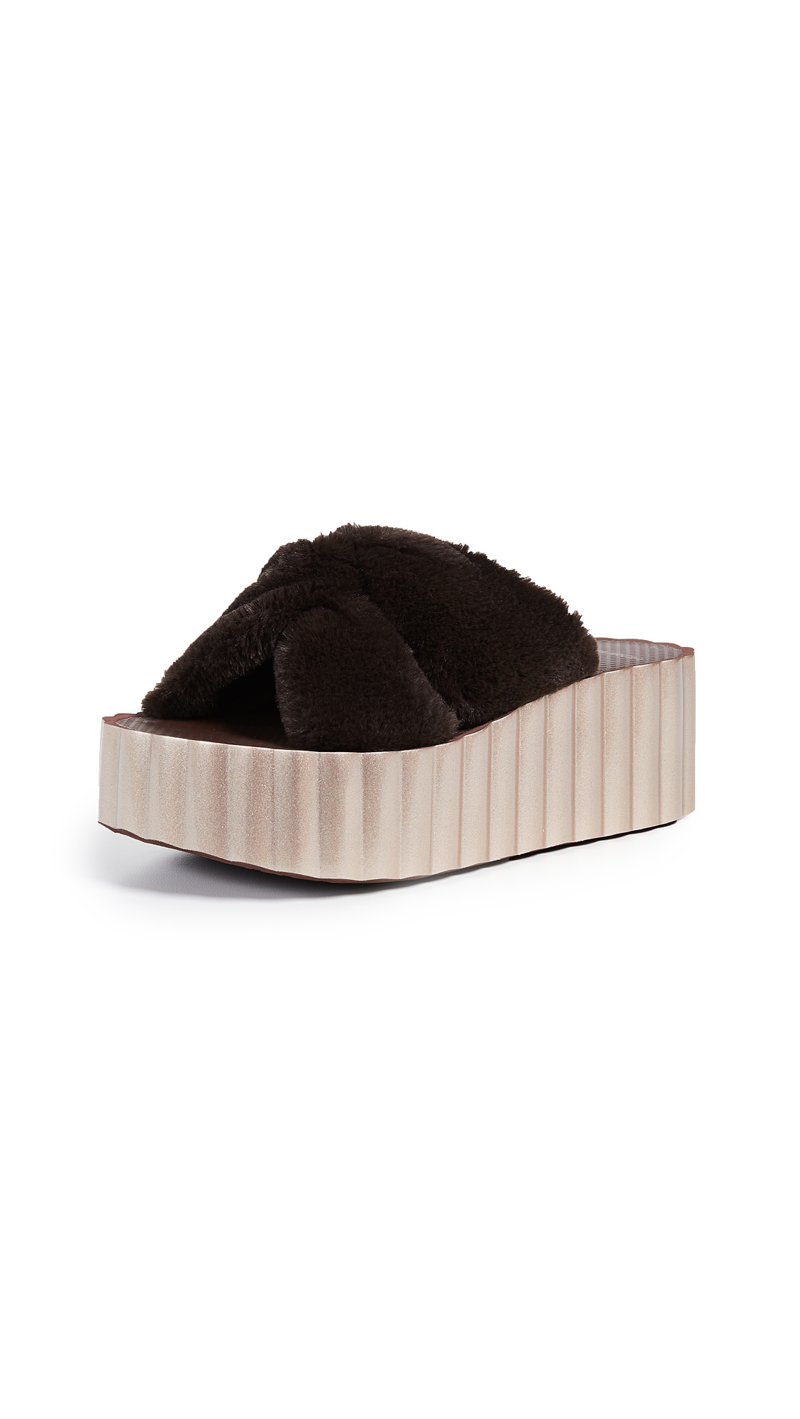 Tory Burch Faux Fur Scallop Slide Sandals - Chocolate