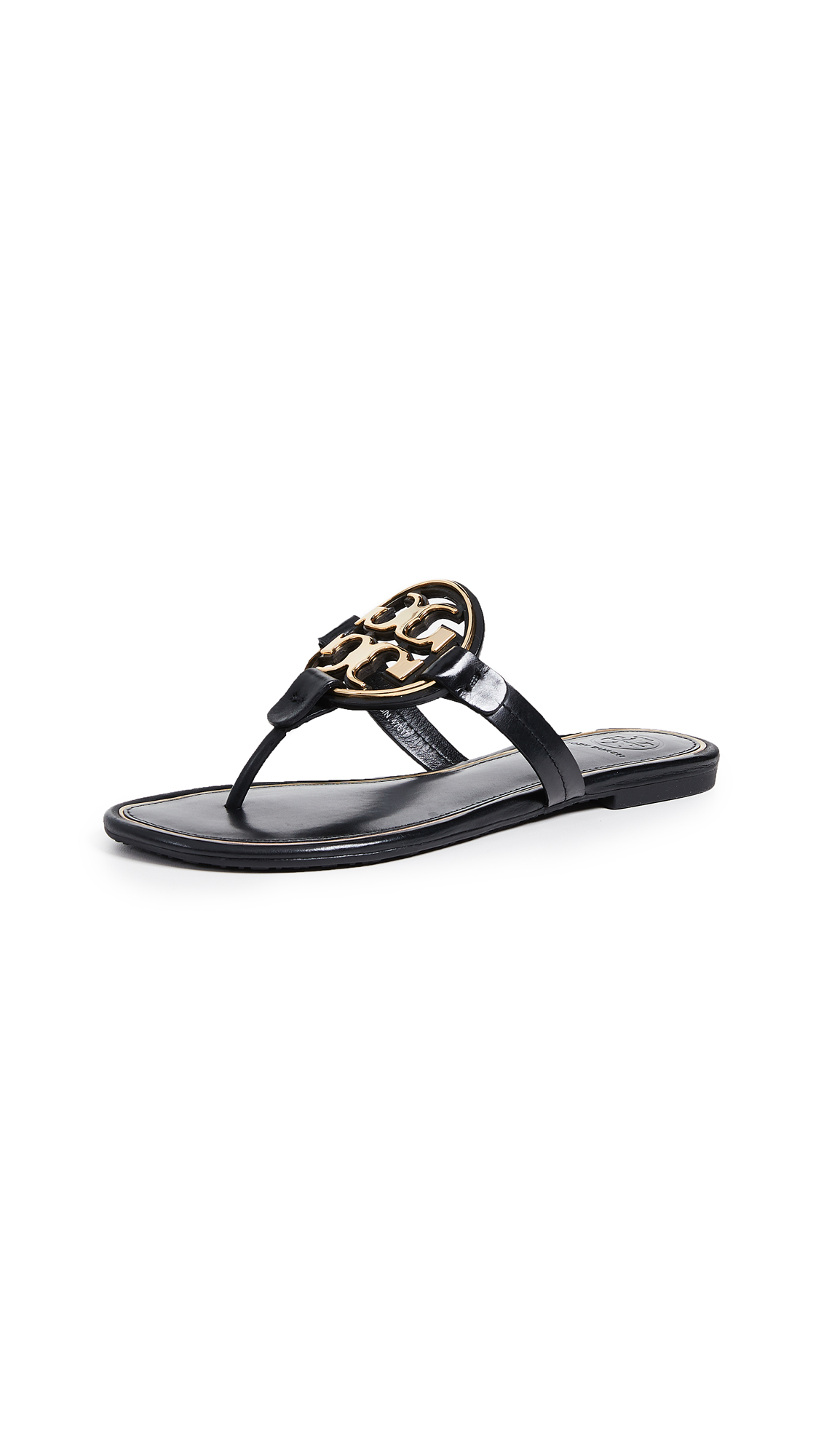 Tory Burch Miller Metal Thong Sandals - Perfect Black/Gold