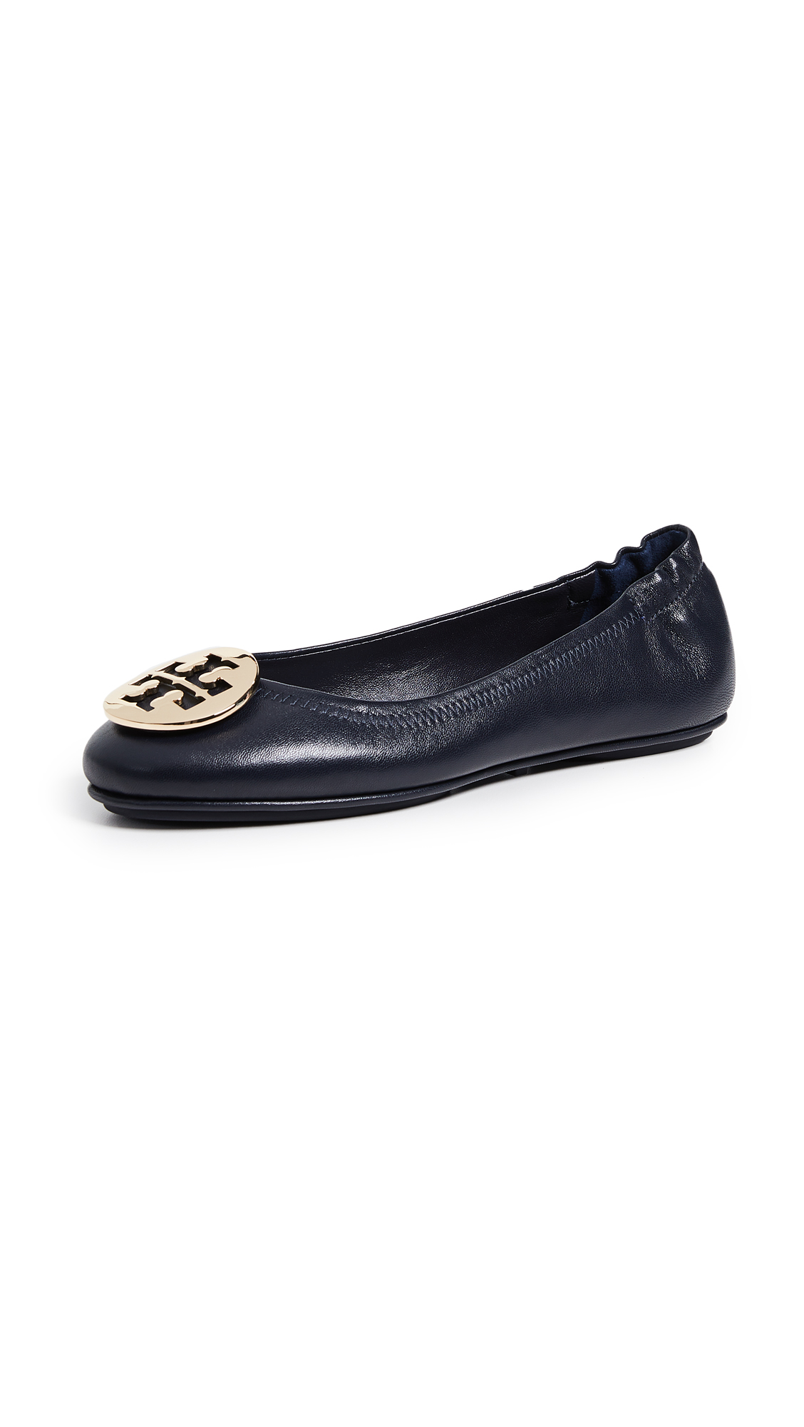 Tory Burch Minnie Travel Ballet Flats - Perfect Navy/Gold