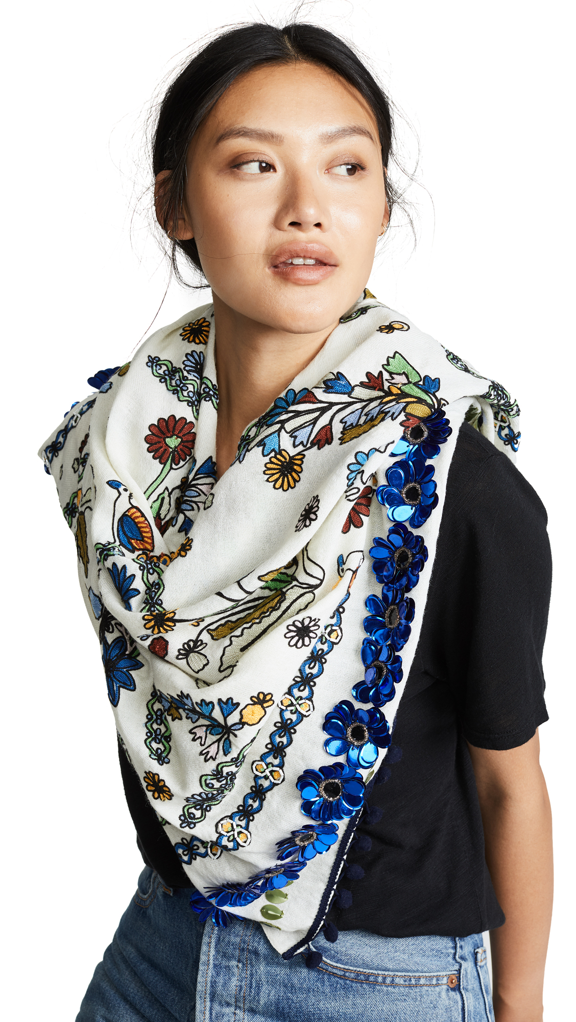 Meadow Sweet Embroidered Oblong Scarf, Ivory Meadow Sweet