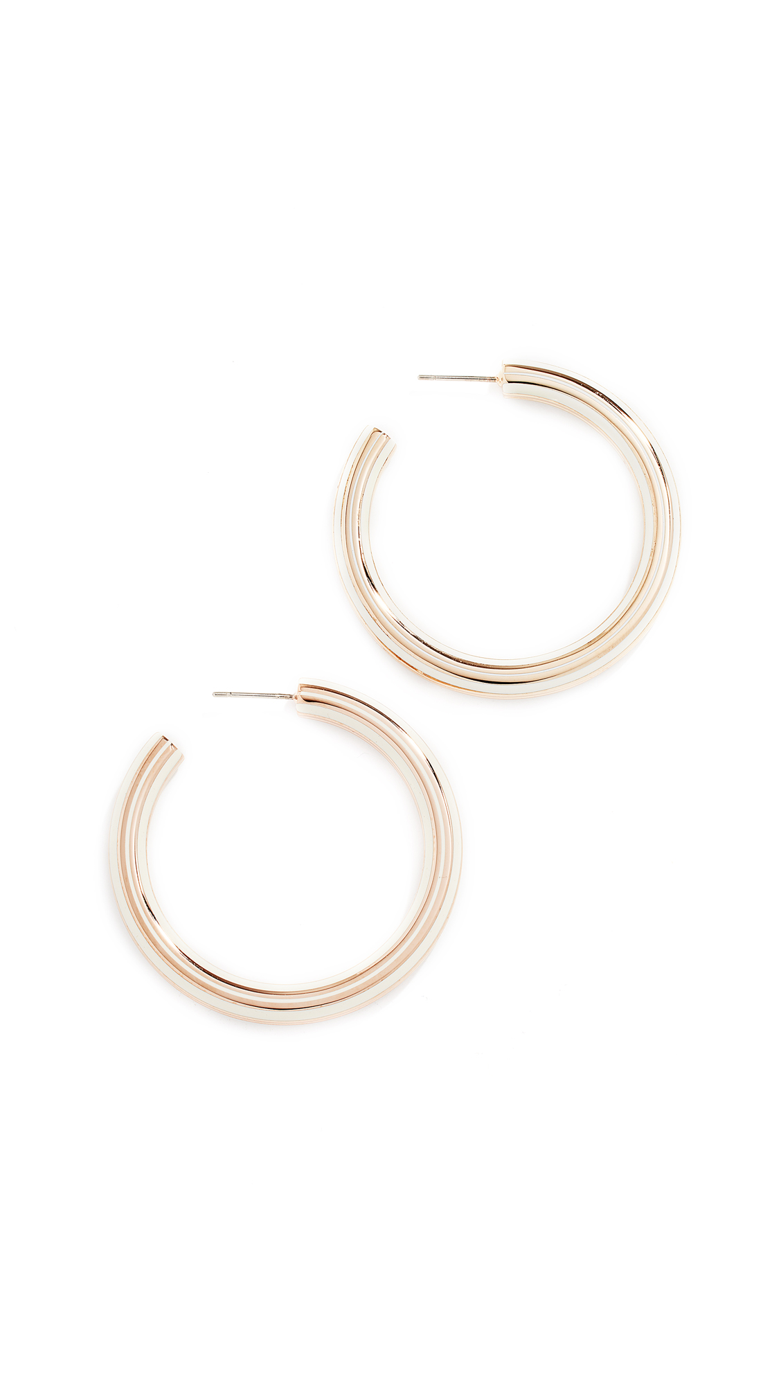 Tory Burch T-Stretch Hoop Earrings - Rose Gold/New Ivory
