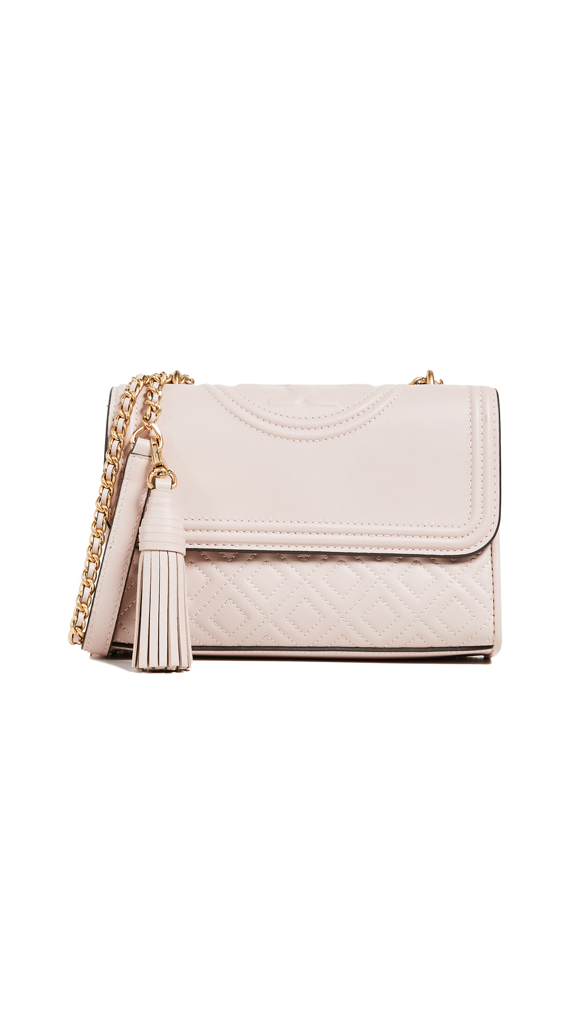 Shop Tory Burch Fleming Small Convertible Shoulder Bag In Shell Pink Geometric Clutch Beige