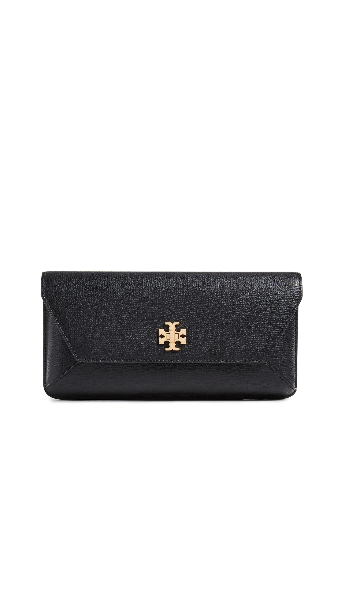 Kira Leather Envelope Clutch - Black