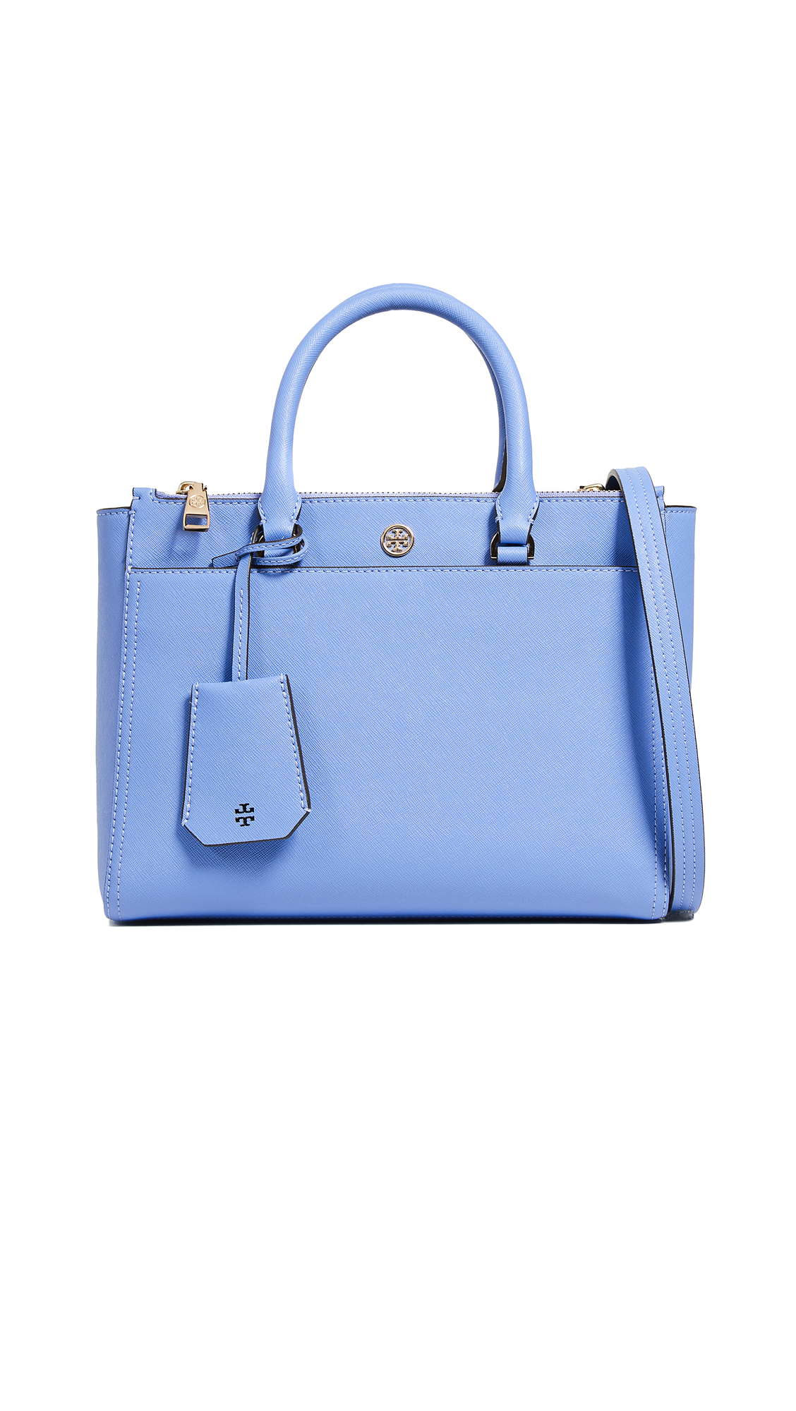 Small Robinson Double-Zip Leather Tote - Blue, Bow Blue
