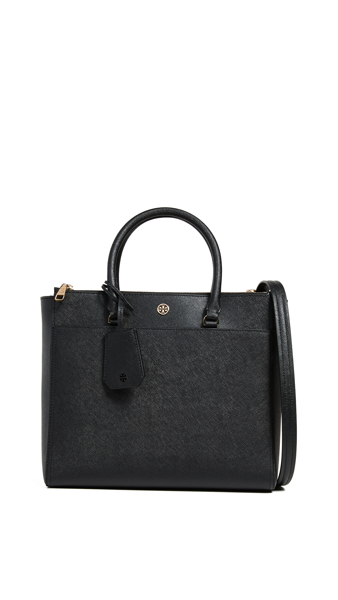 a6c74f476a Tory Burch Robinson Double Zip Tote Bag In Black/Royal Navy | ModeSens