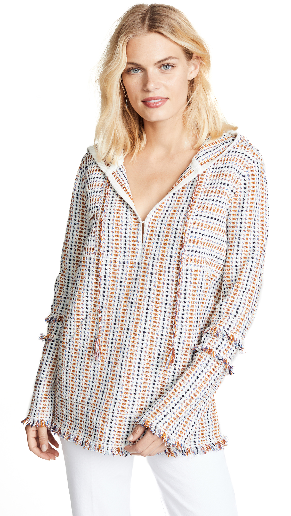 Tory Burch Hollis Baja Tunic In New Ivory