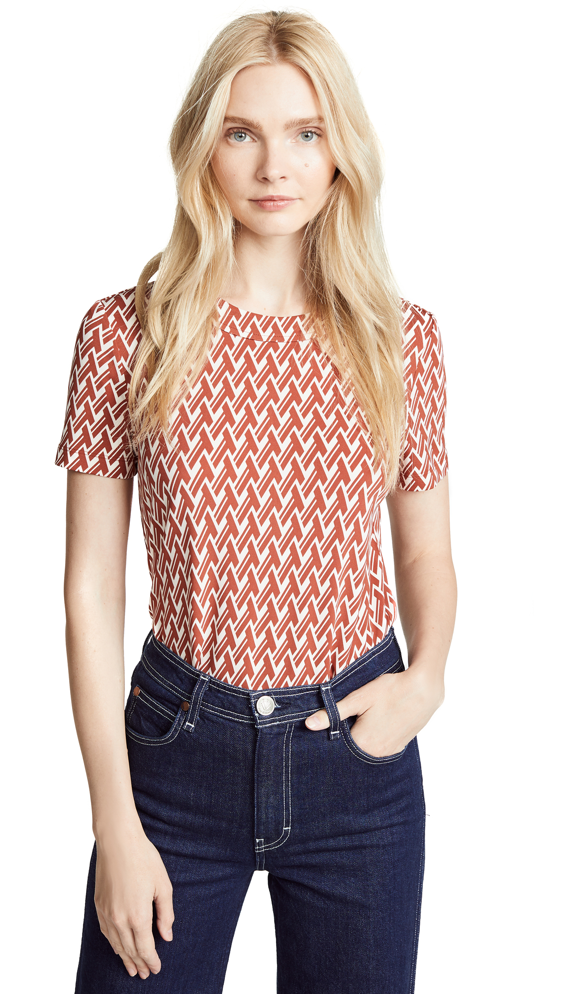 Tory Burch Aubree Top In Rust T-Lattice