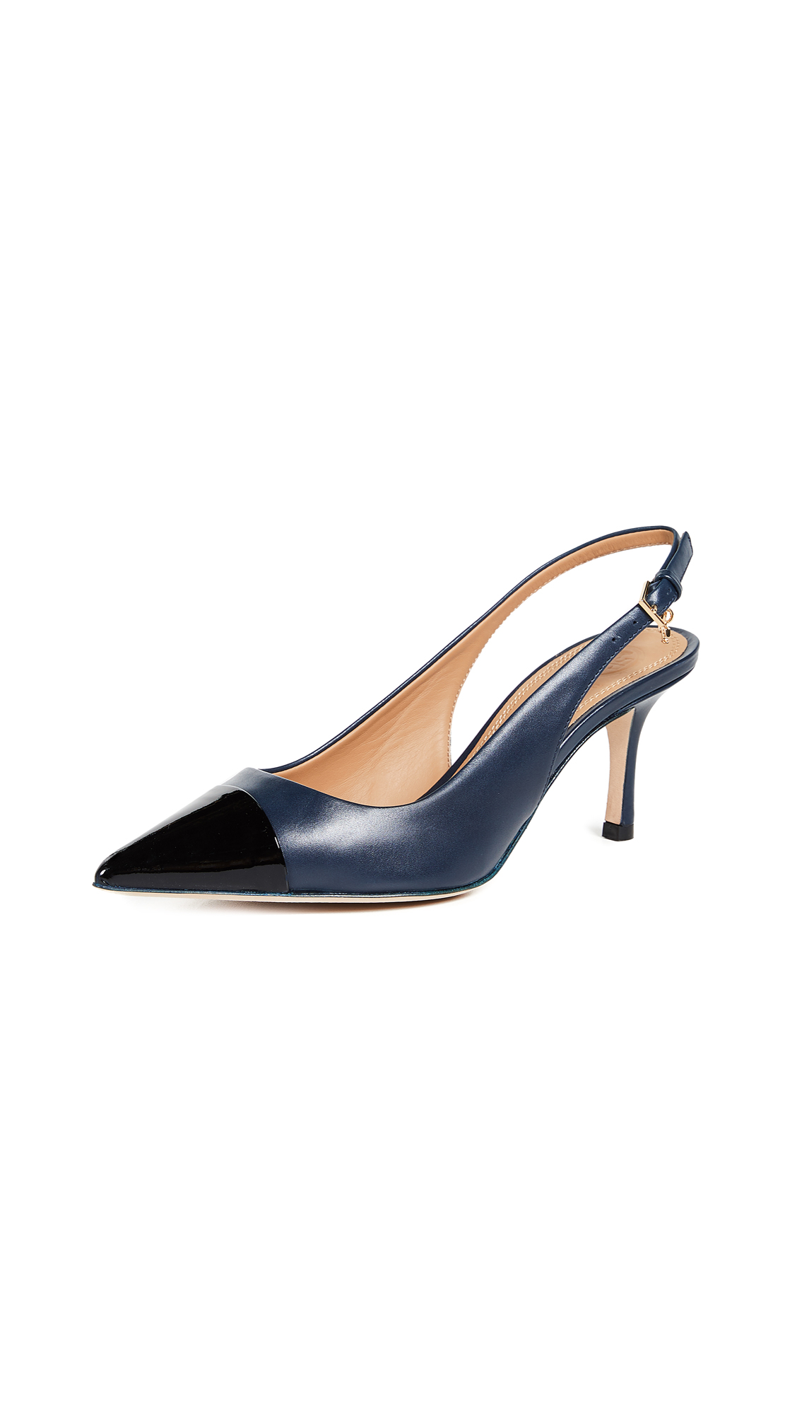 Tory Burch Penelope Cap Toe Slingback Pumps - Perfect Navy/Perfect Black