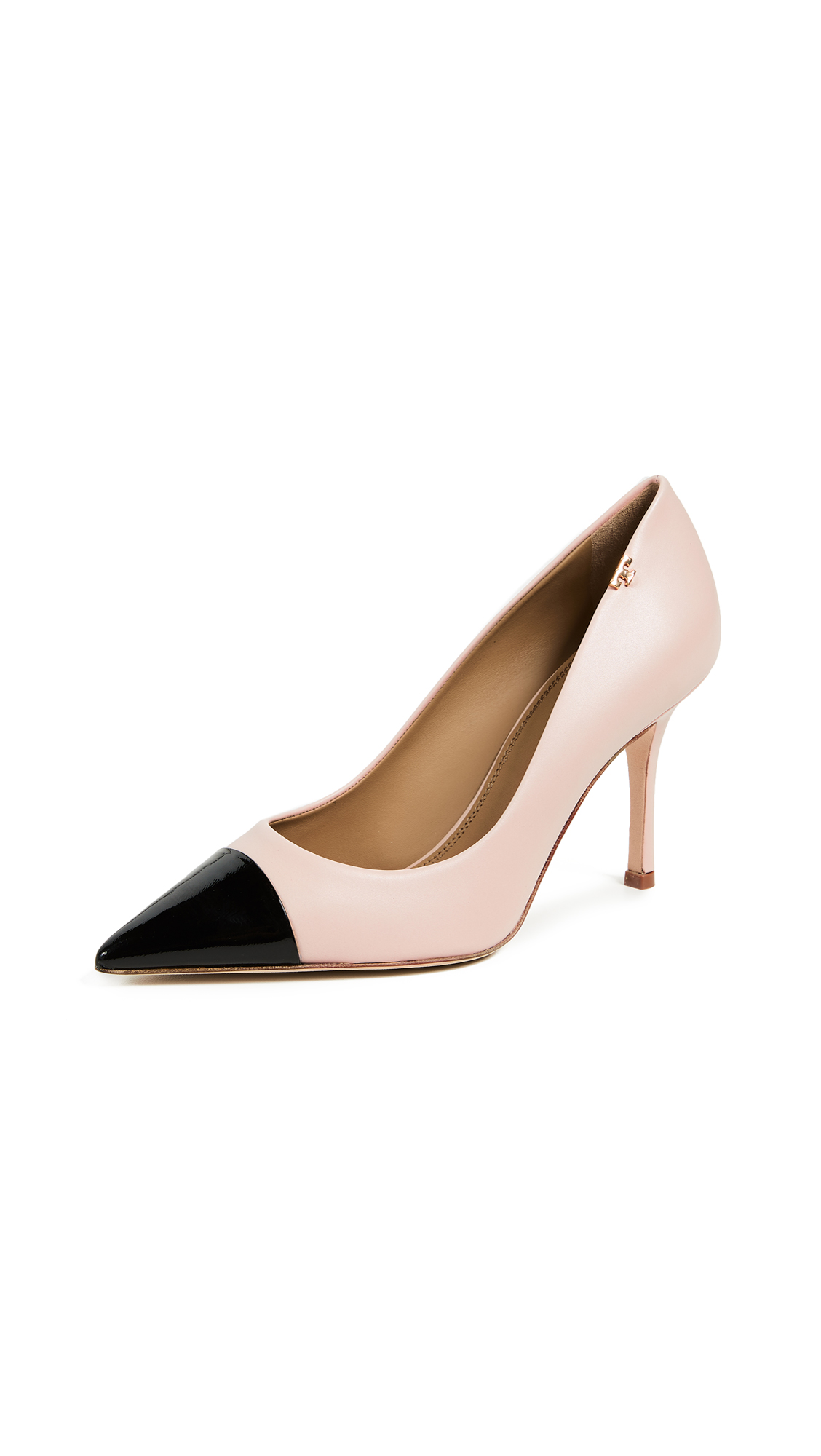 Tory Burch Penelope Cap Toe Pumps - Sea Shell Pink/Perfect Black
