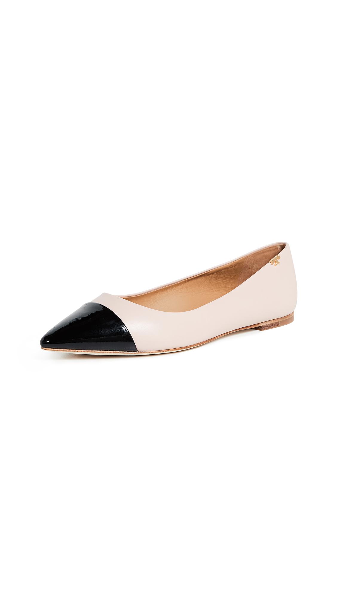 Tory Burch Penelope Cap Toe Flats - Sea Shell Pink/Perfect Black
