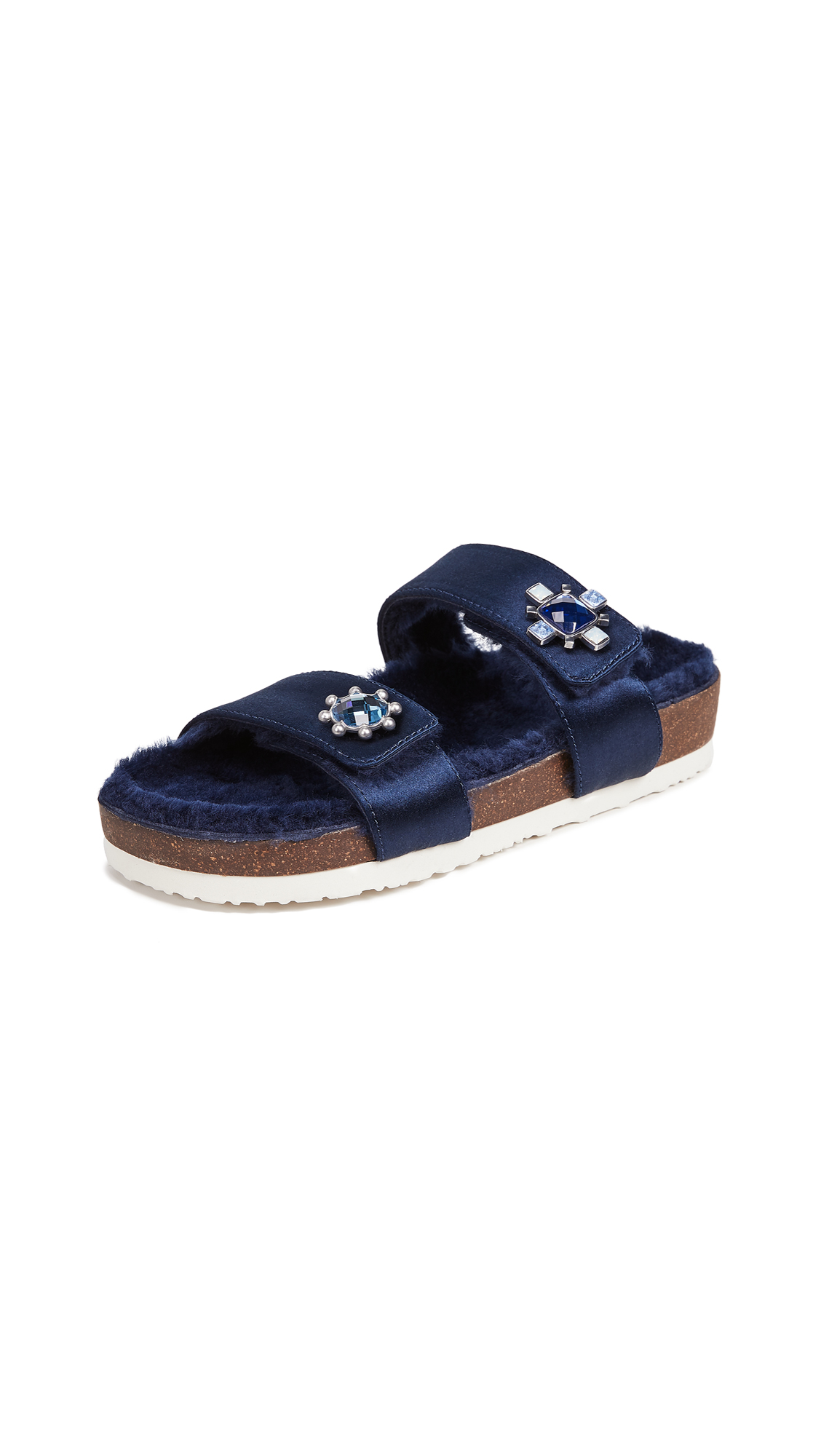 Celia Genuine Shearling Slide Sandal, Perfect Navy