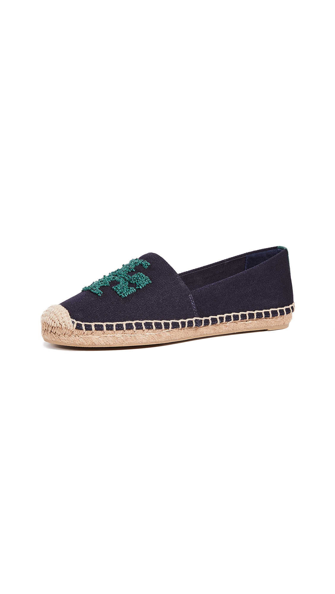 Tory Burch Elisa Logo Flat Espadrilles - Perfect Navy/Norwood