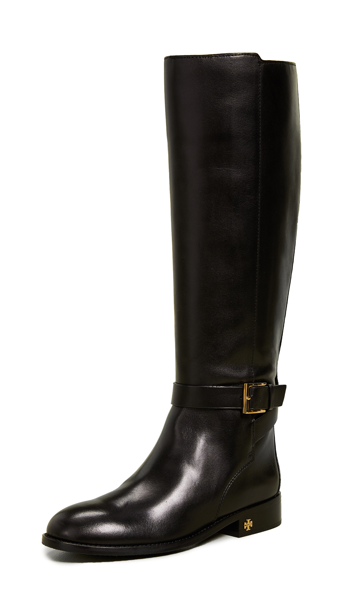 Women'S Brooke Round Toe Leather Riding Boots in Perfect Black
