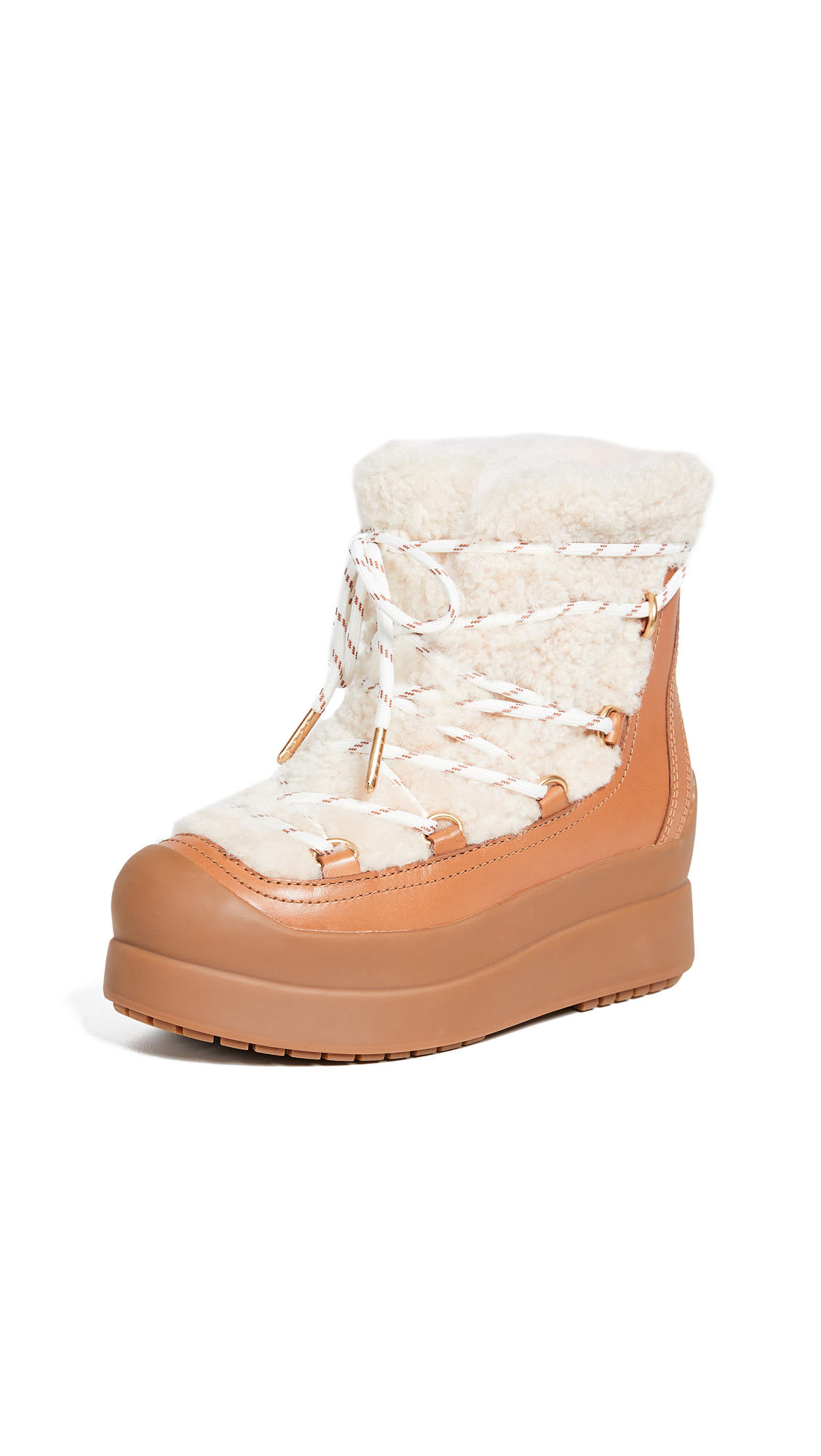 Tory Burch Courtney Shearling Boots - Natural/Tan