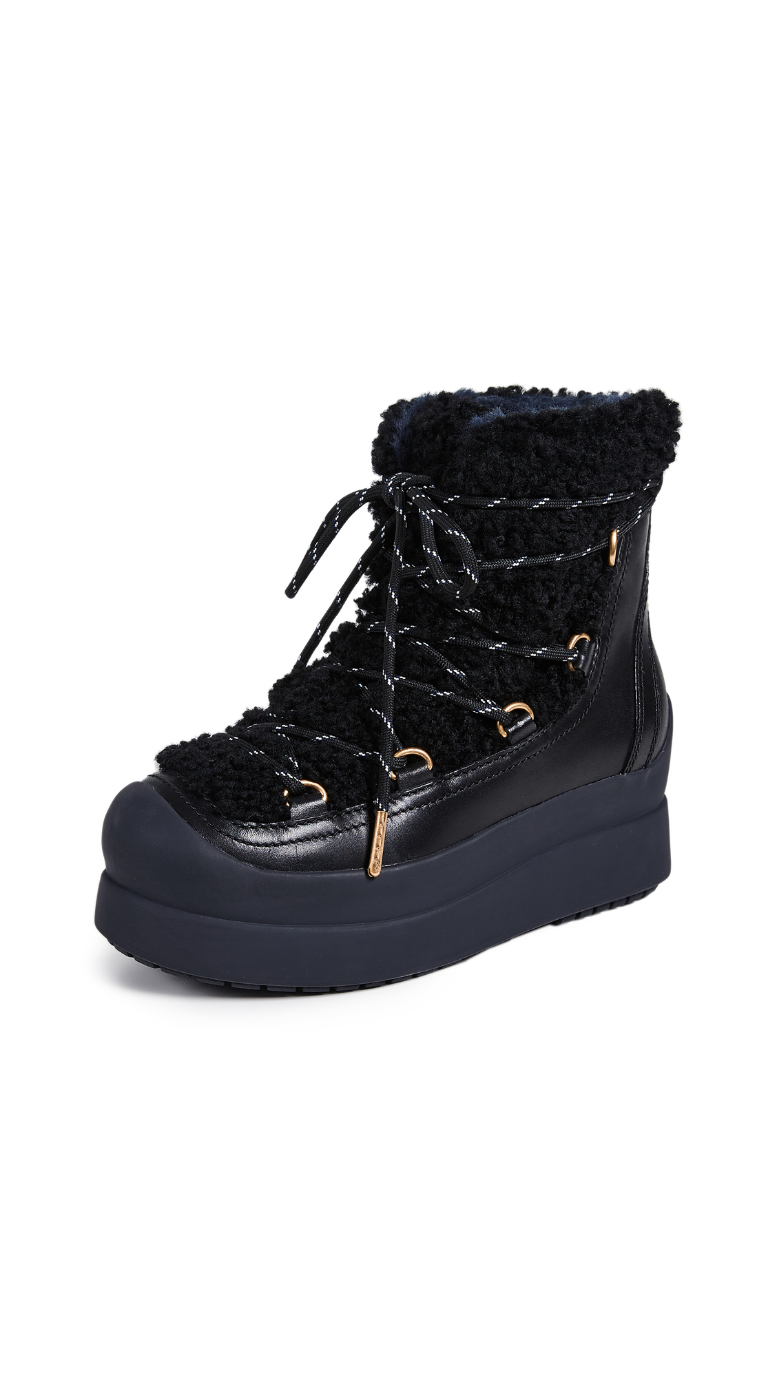 Tory Burch Courtney Shearling Boots - Perfect Black
