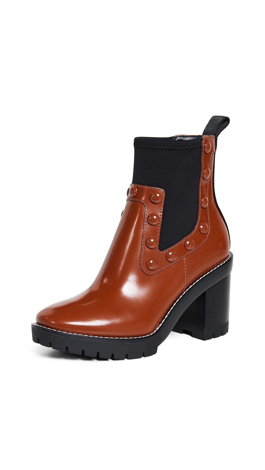 Tory Burch Preston Stud Booties - Dark Sienna/Perfect Black