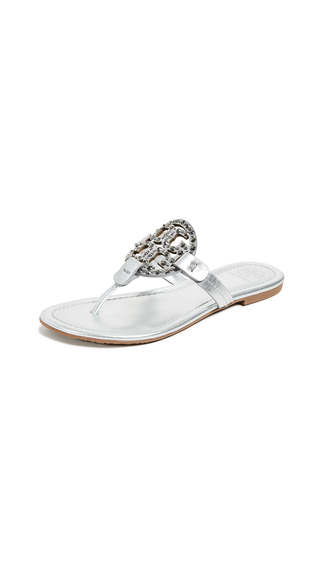 Tory Burch Miller Embellished Sandals - Silver