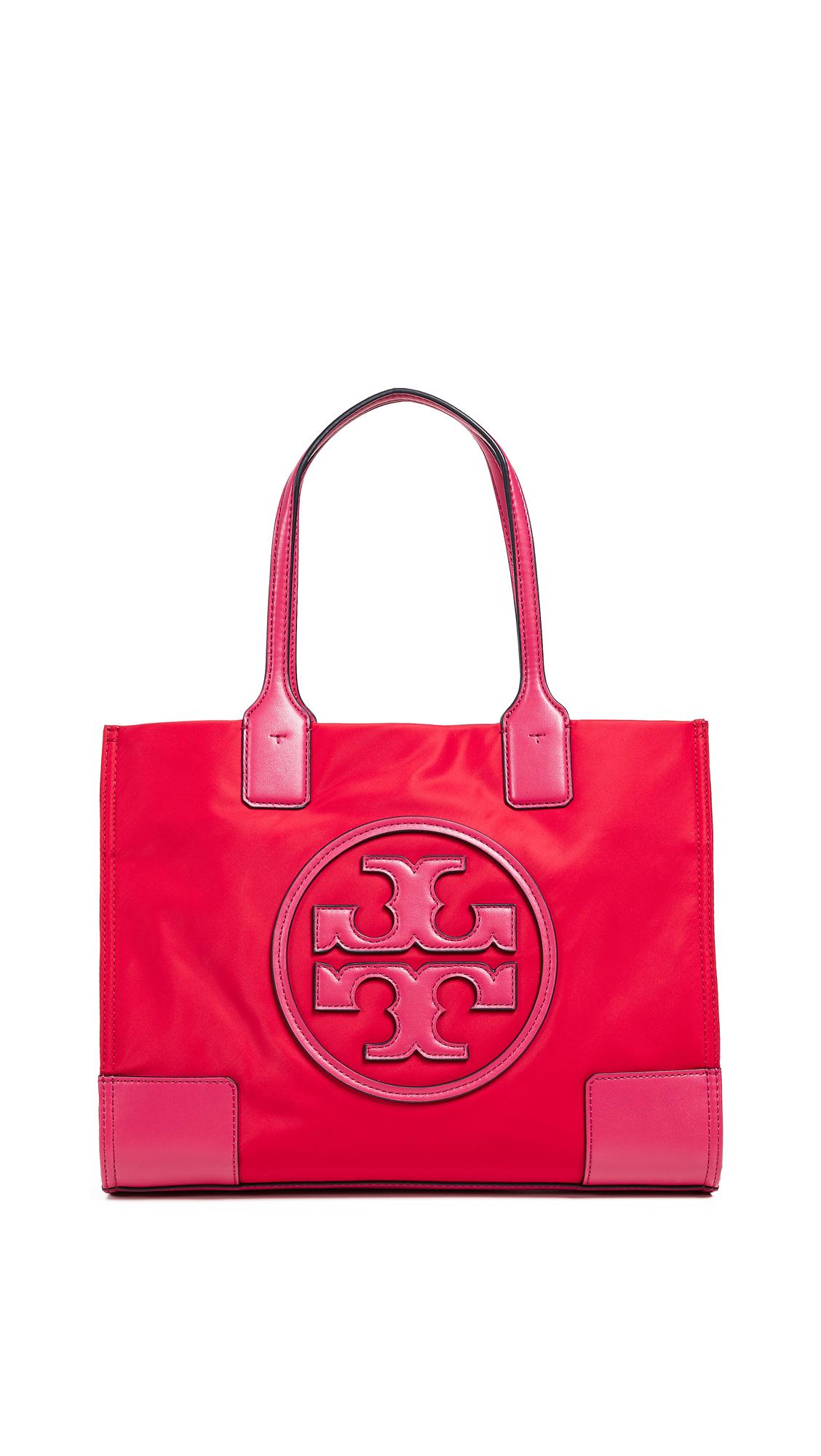 Ella Colorblock Nylon Logo Tote Bag, Brilliant Red/Bright Azalea